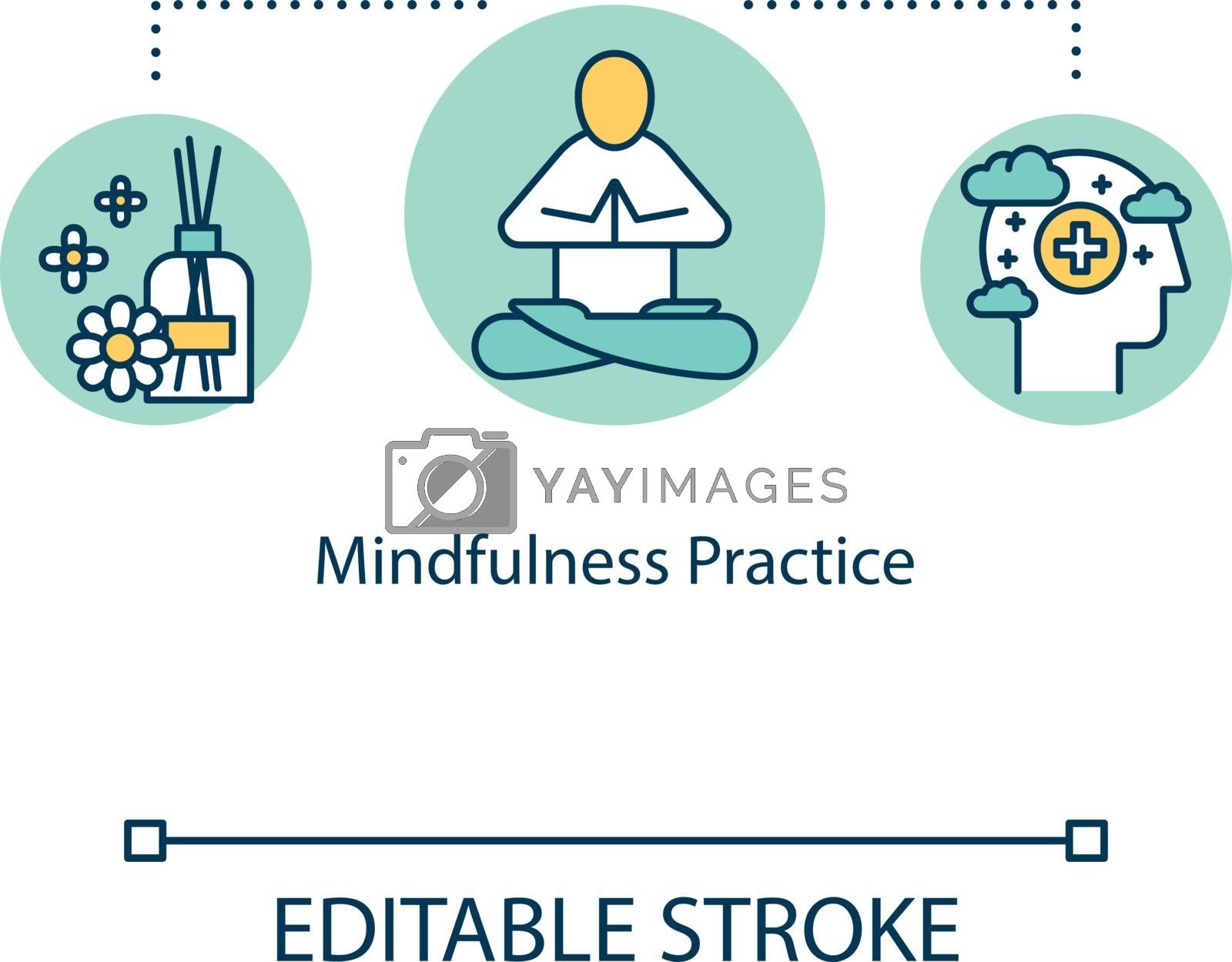 Mindfulness practice concept icon. Meditation idea thin line illustration. Chinese traditions. Aromatherapy. Positive thinking. Vector isolated outline RGB color drawing. Editable stroke by bsd