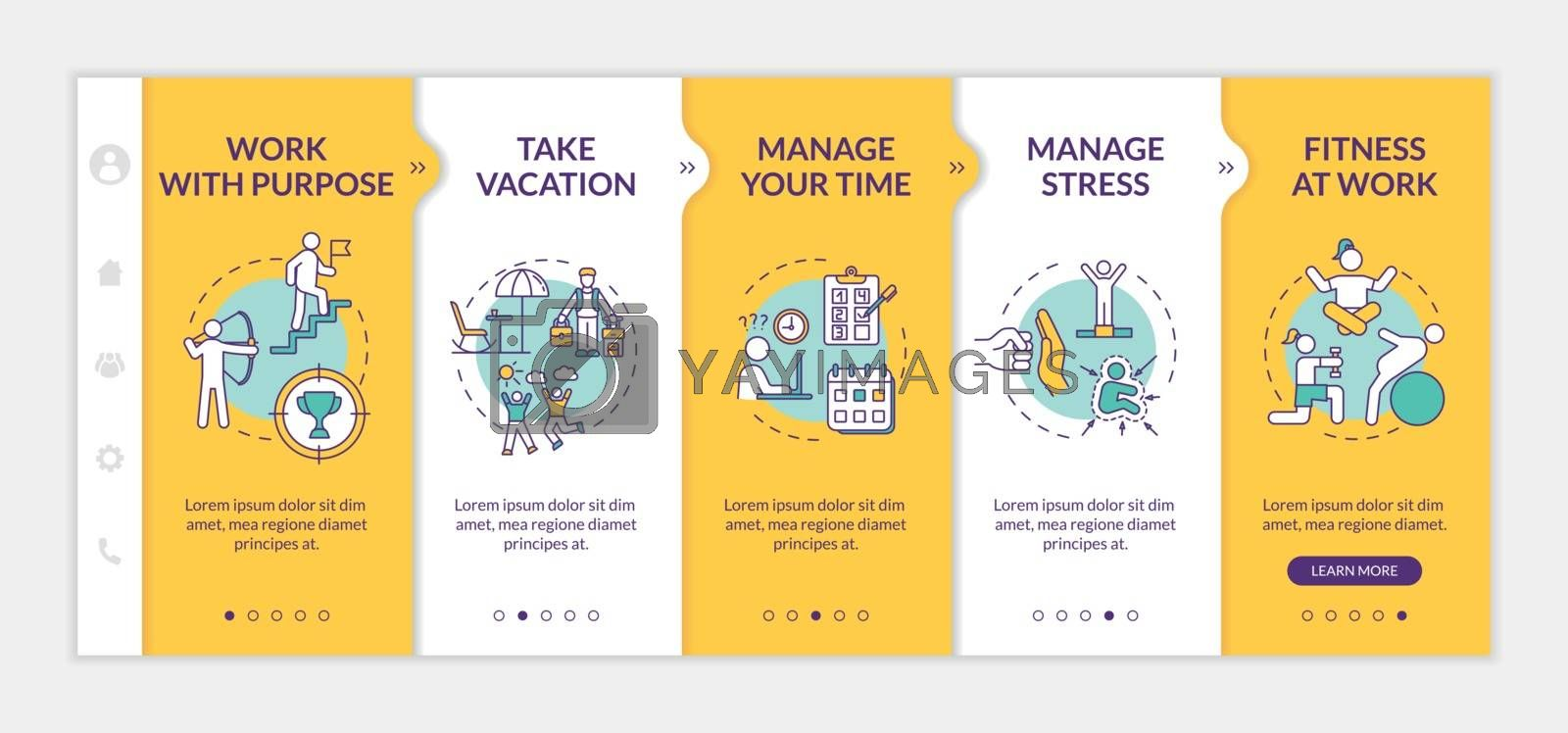 Avoid burnout onboarding vector template. Take vacation. Keep satisfaction level. Stretching in office. Responsive mobile website with icons. Webpage walkthrough step screens. RGB color concept by bsd