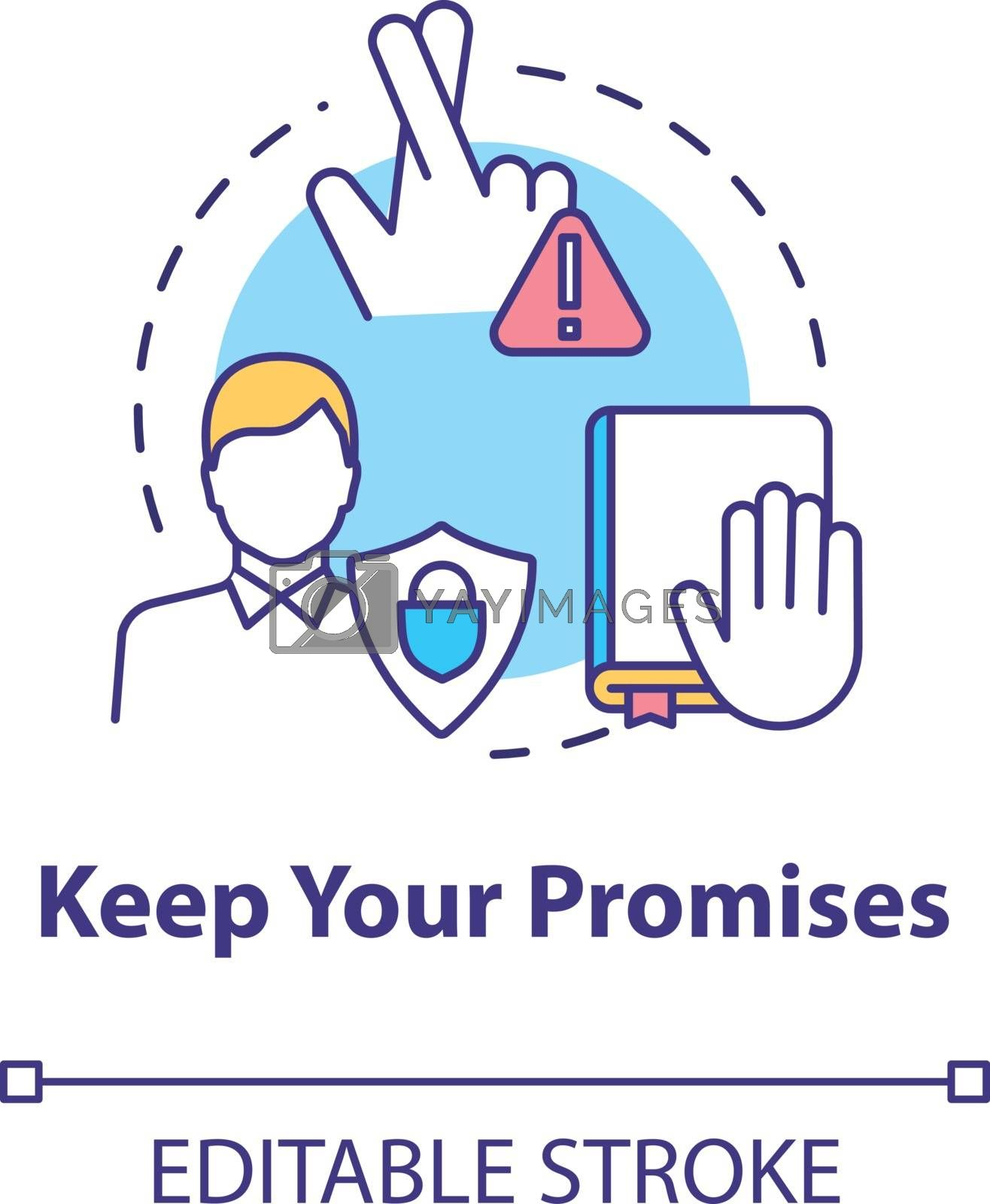 Keep your promises concept icon. People secrets keeping. Being loyal, dependable and trustworthy friend idea thin line illustration. Vector isolated outline RGB color drawing. Editable stroke