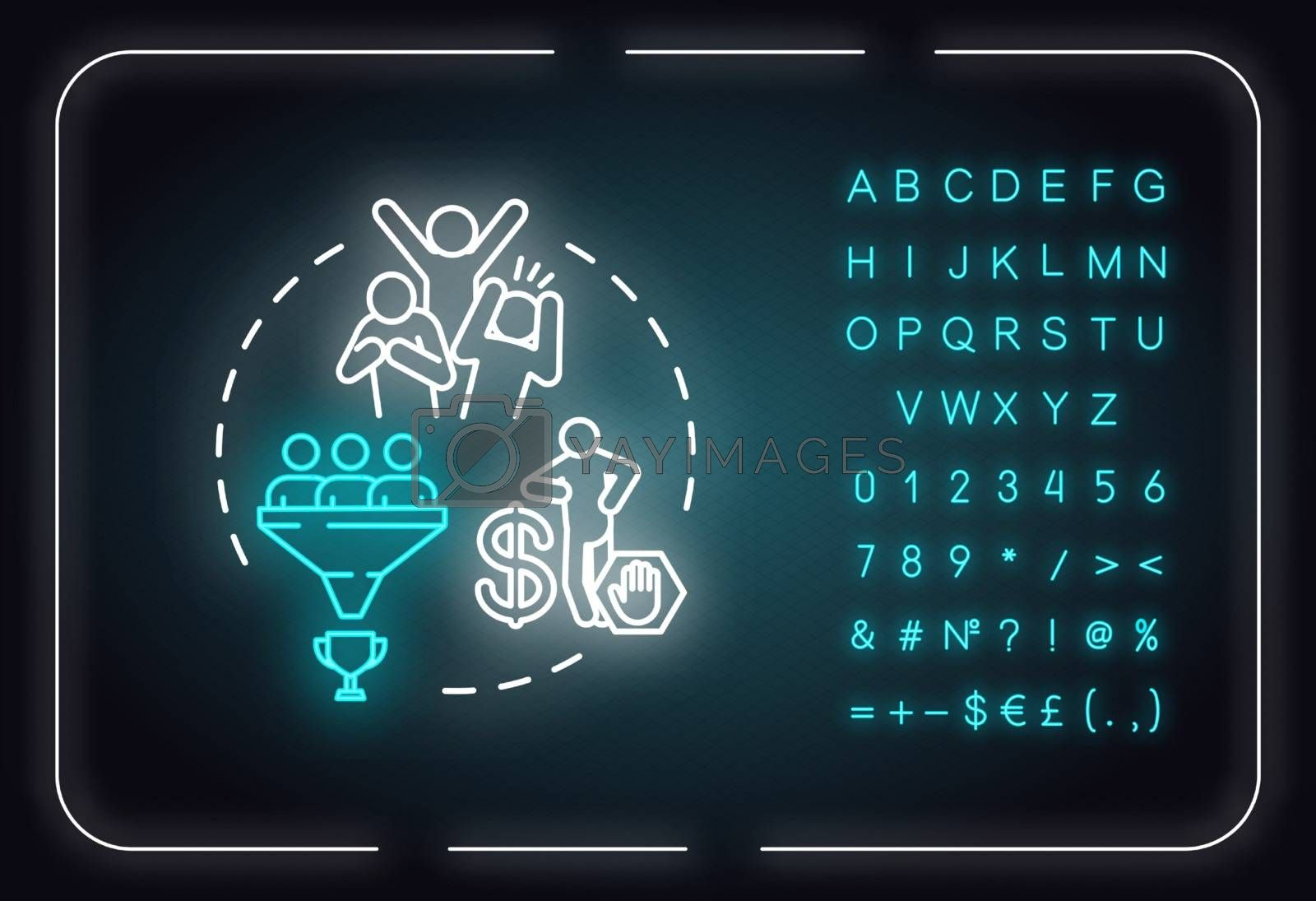 Dont use people neon light concept icon. Egocentric and narcissistic friend. Abusive relationships idea. Outer glowing sign with alphabet, numbers and symbols. Vector isolated RGB color illustration