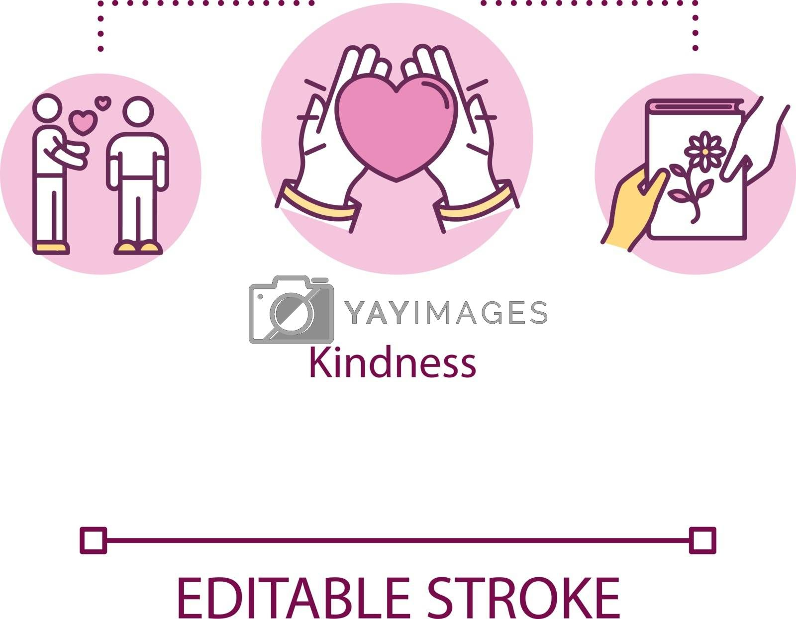 Kindness concept icon. Sincerity and generosity. People moral support. Charity and volunteer services idea thin line illustration. Vector isolated outline RGB color drawing. Editable stroke