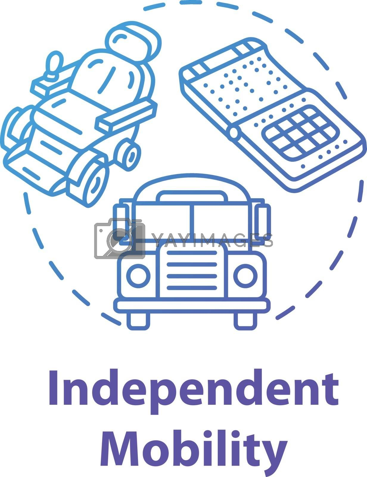 Independent mobility concept icon. Accessible transportation for people with needs. Special care idea thin line illustration. Vector isolated outline RGB color drawing. Editable stroke