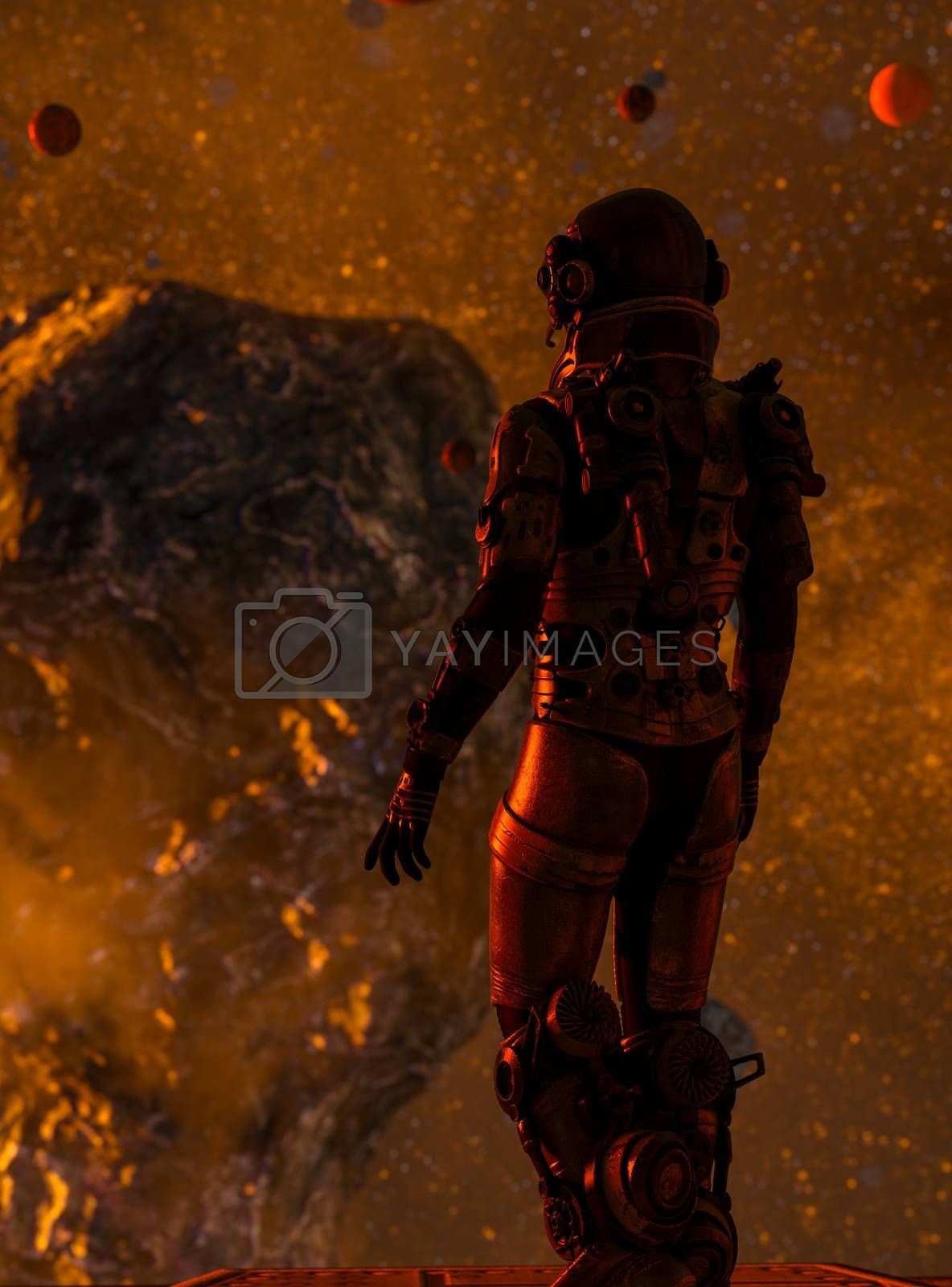 Space traveler watching a meteorite in the deep space - 3d rendering