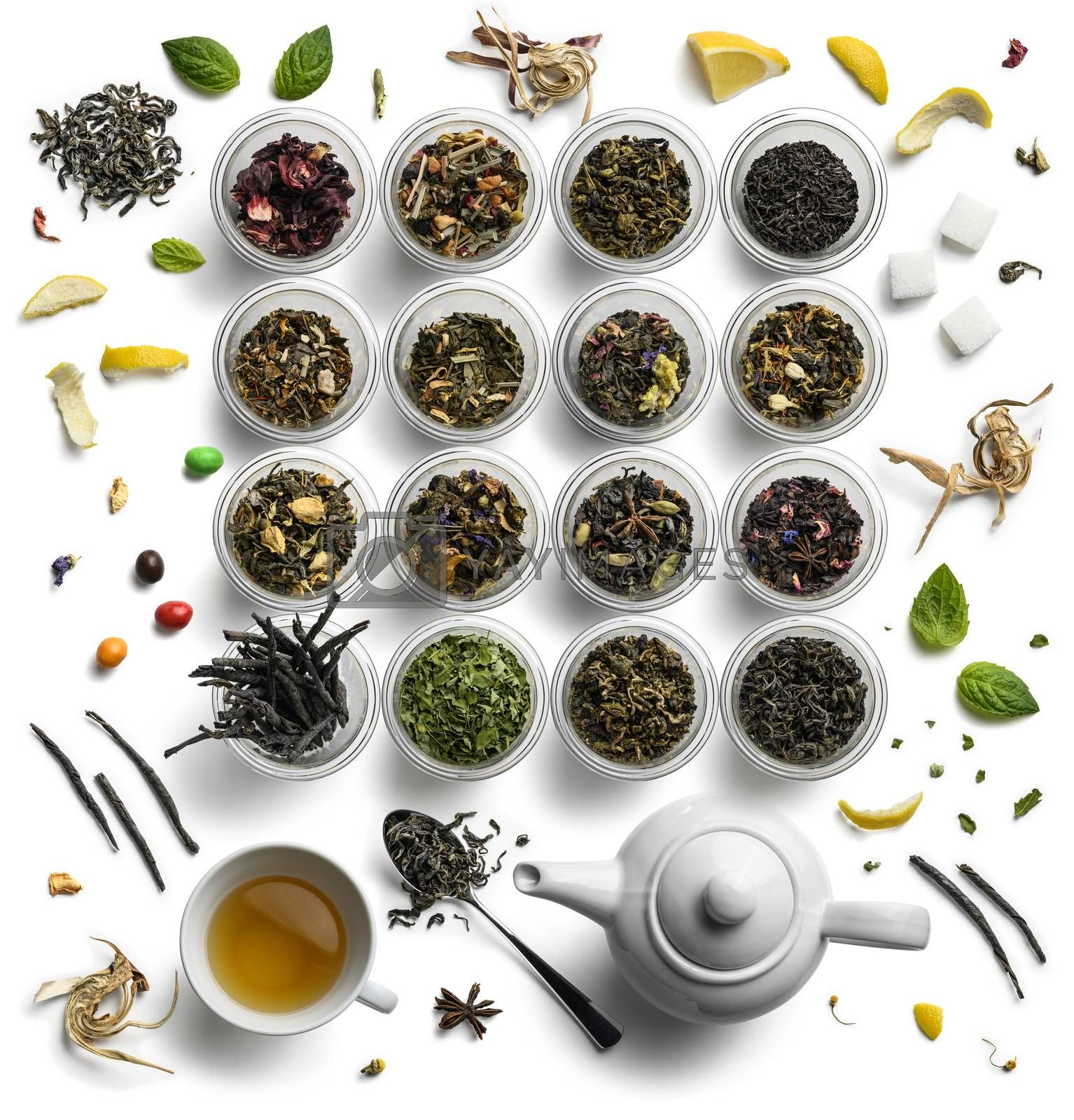 Large assortment of tea on a white background. The view from the top by butenkow