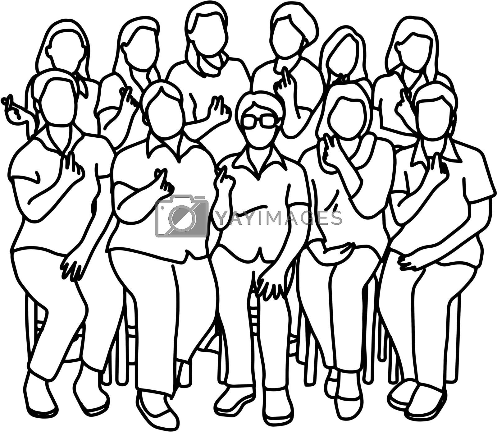 group of women showing mini heart gesture vector illustration sketch doodle hand drawn with black lines isolated on white background. Teamwork concept.