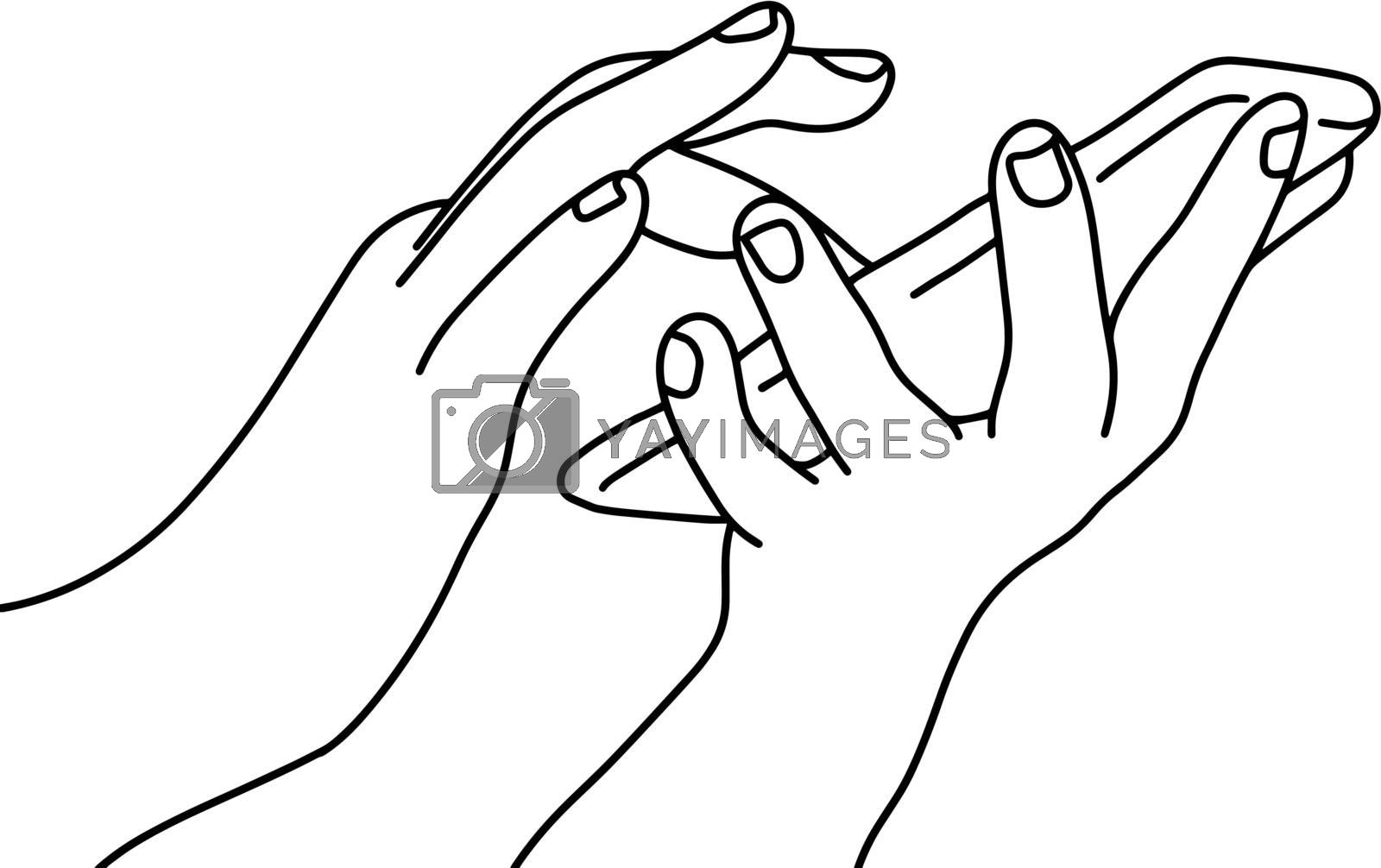 close-up two hands using mobile phone vector illustration sketch doodle hand drawn with black lines isolated on white background