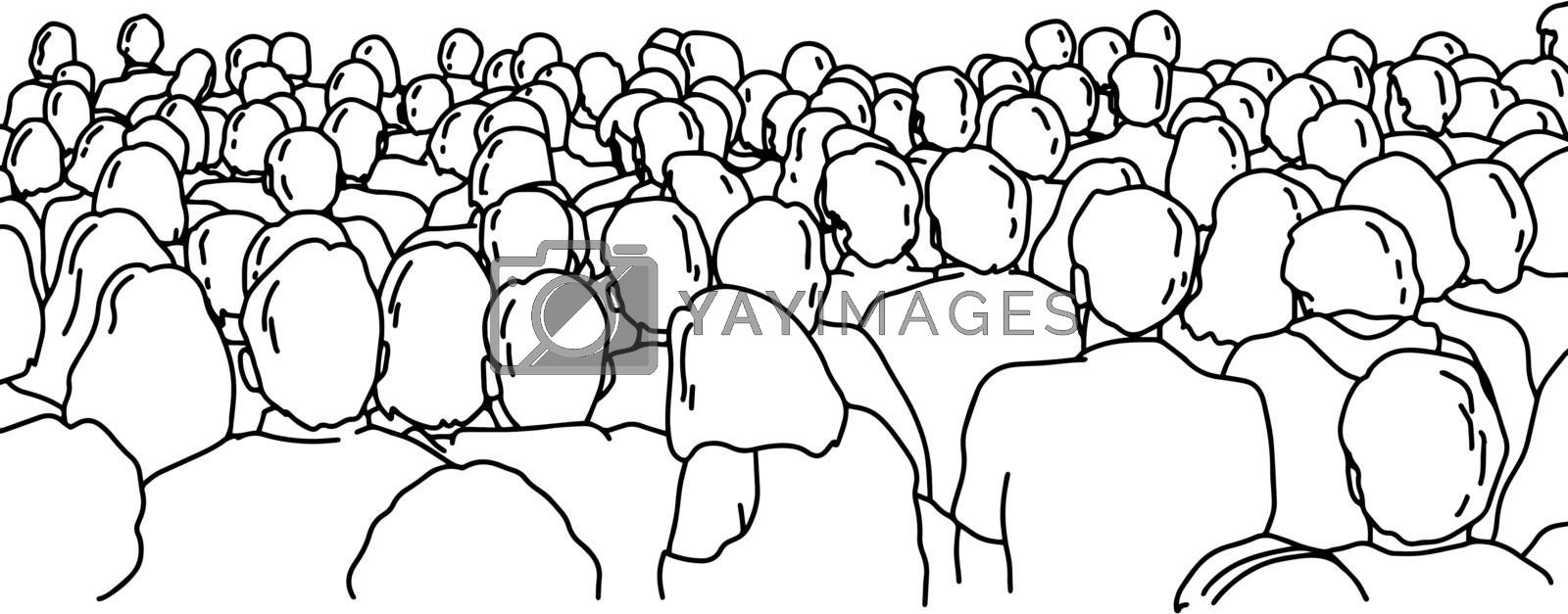 Back view of people watching a performance vector illustration sketch doodle hand drawn with black lines isolated on white background