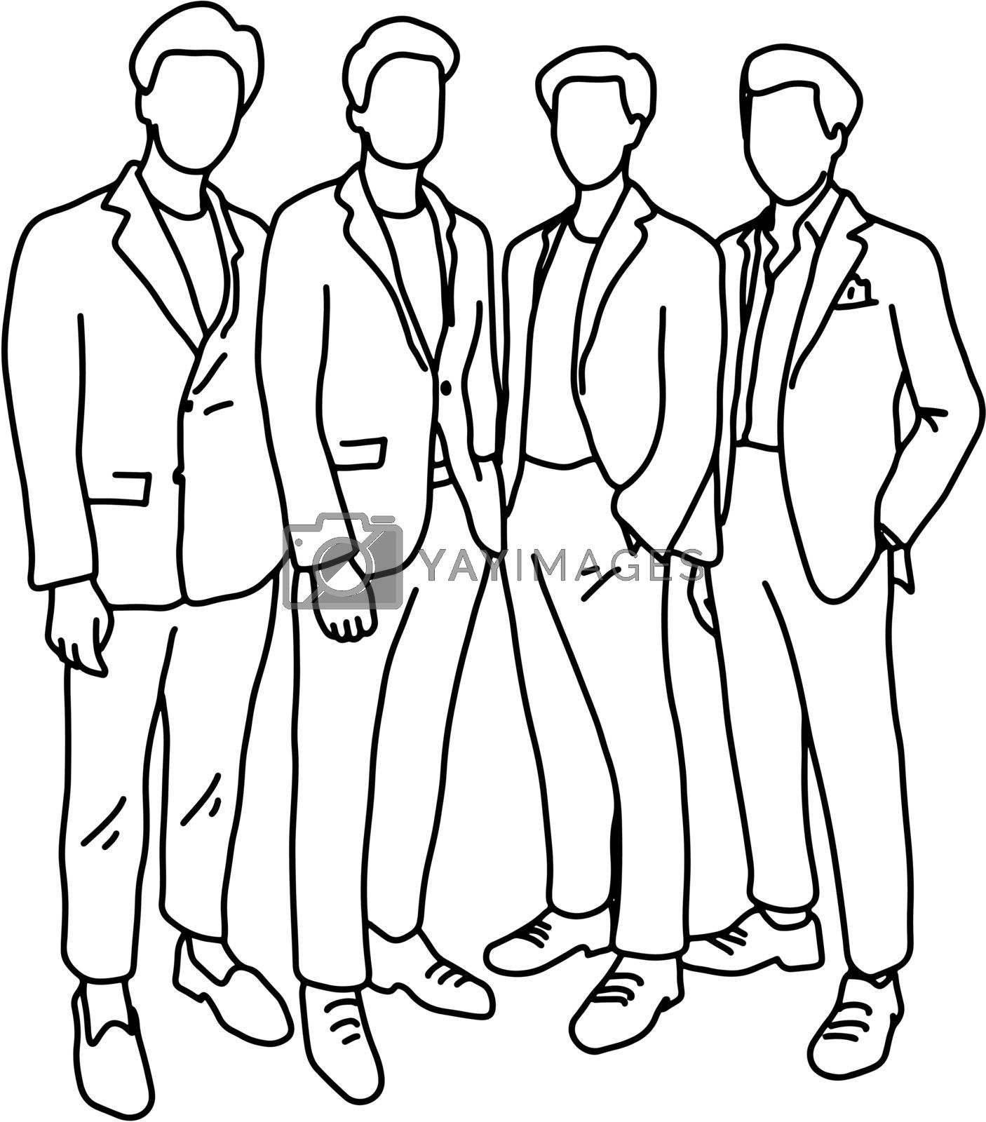 four male businesspeople standing together vector illustration sketch doodle hand drawn with black lines isolated on white background. Teamwork business concept.