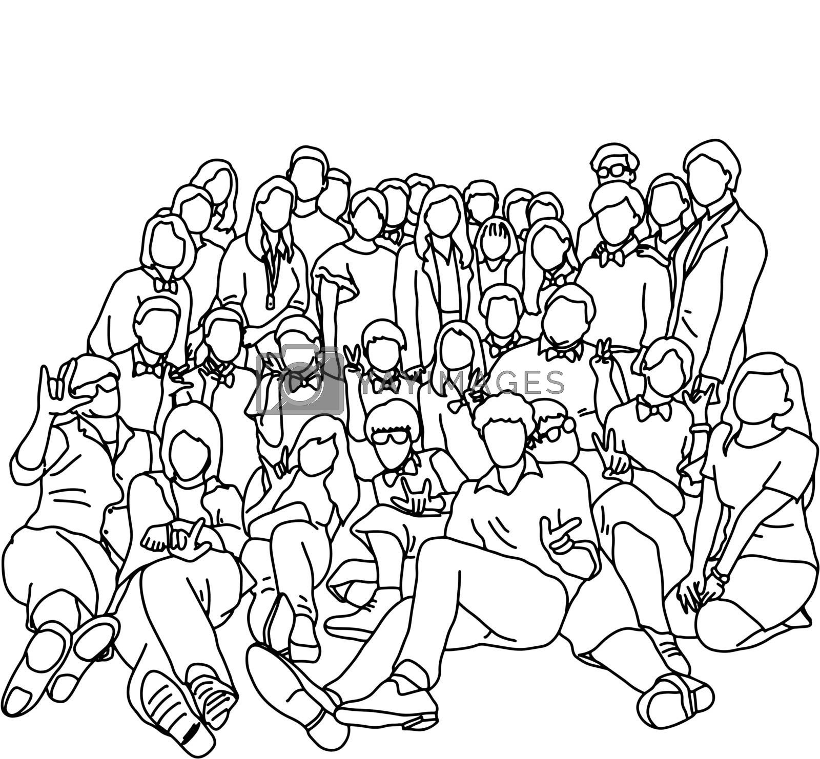 group of people or workers taking photo together vector illustration sketch doodle hand drawn with black lines isolated on white background
