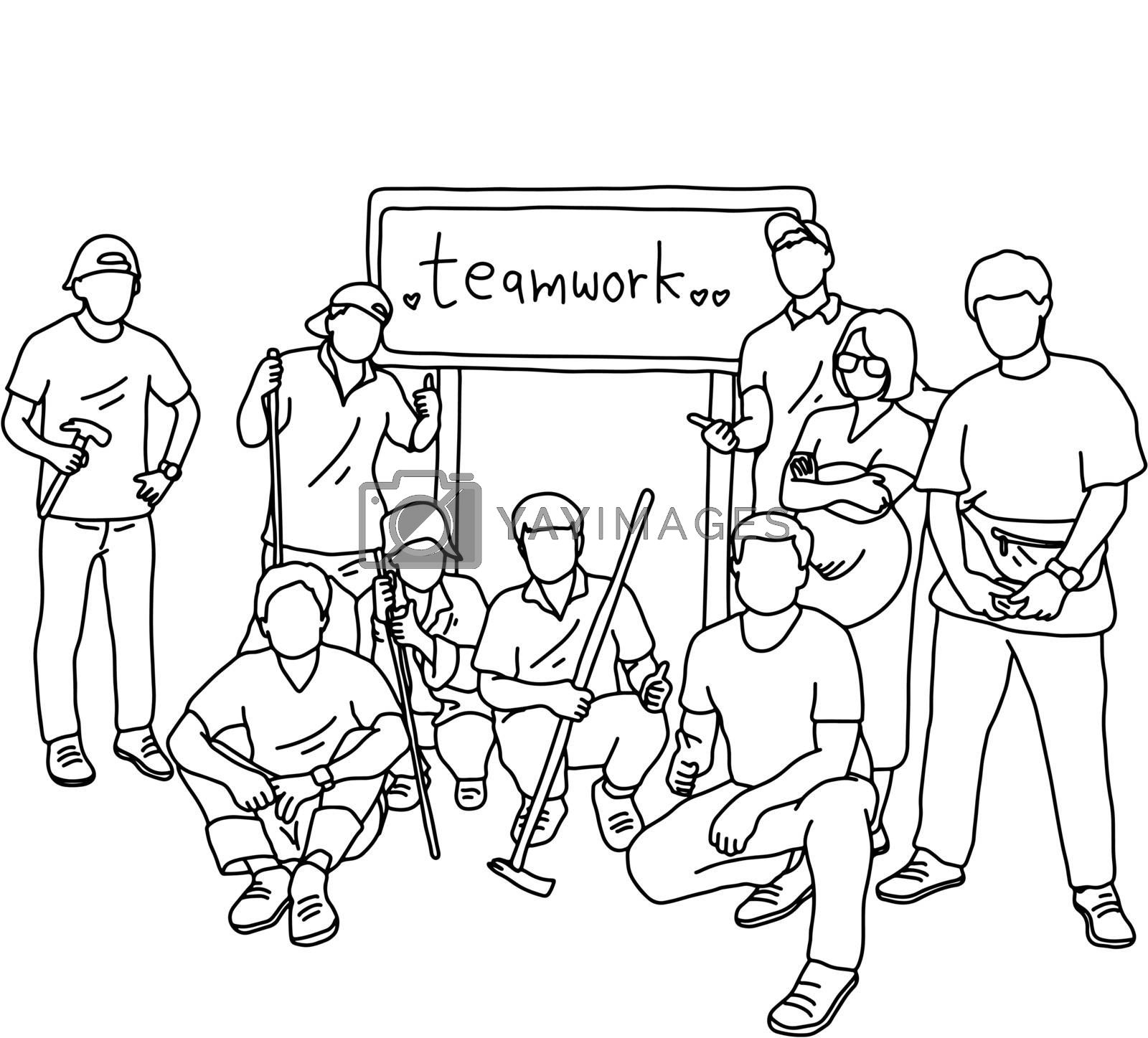 nine people in group holding tools with the word teamwork in the sign behind them vector illustration sketch doodle hand drawn with black lines isolated on white background