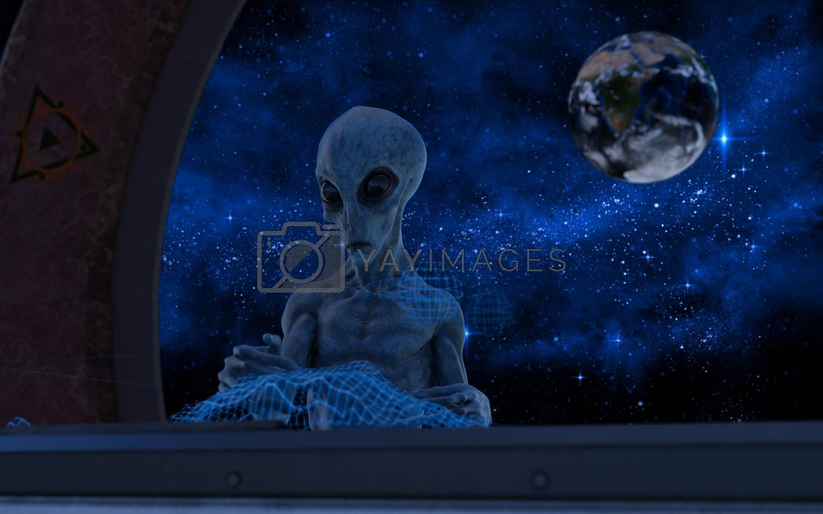 Fantasy alien in a spaceship near earth - 3d rendering