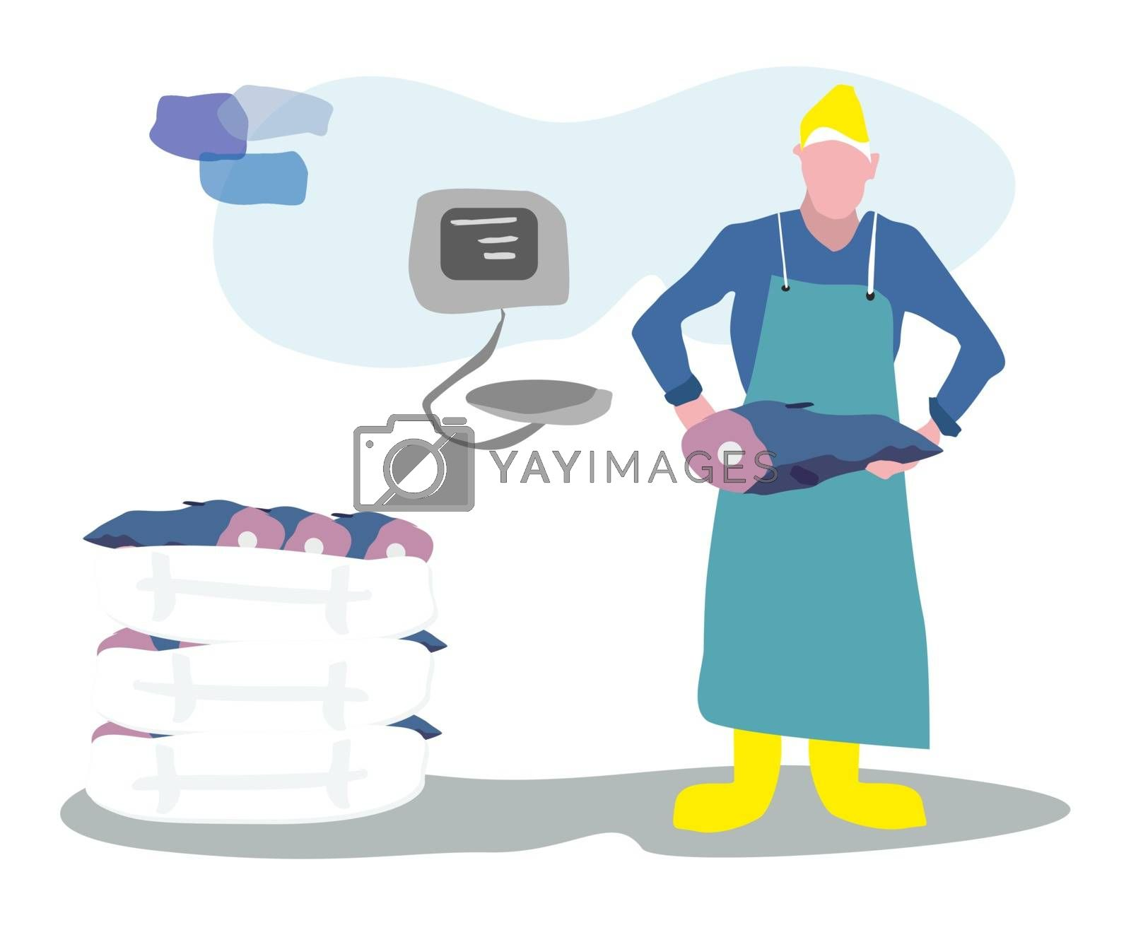 fishmonger sell fresh fish in the market