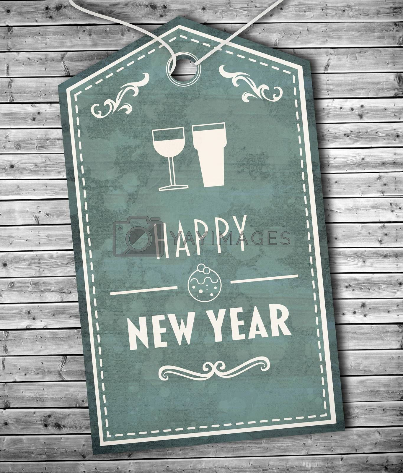 Banner saying happy new year against digitally generated grey wooden planks