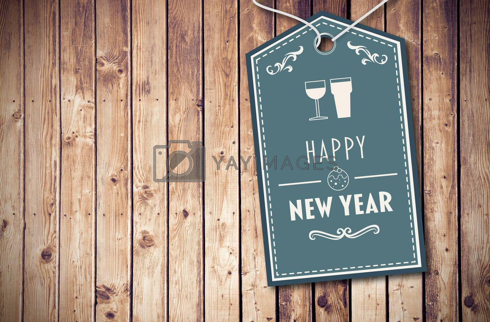 Banner saying happy new year against wooden planks background