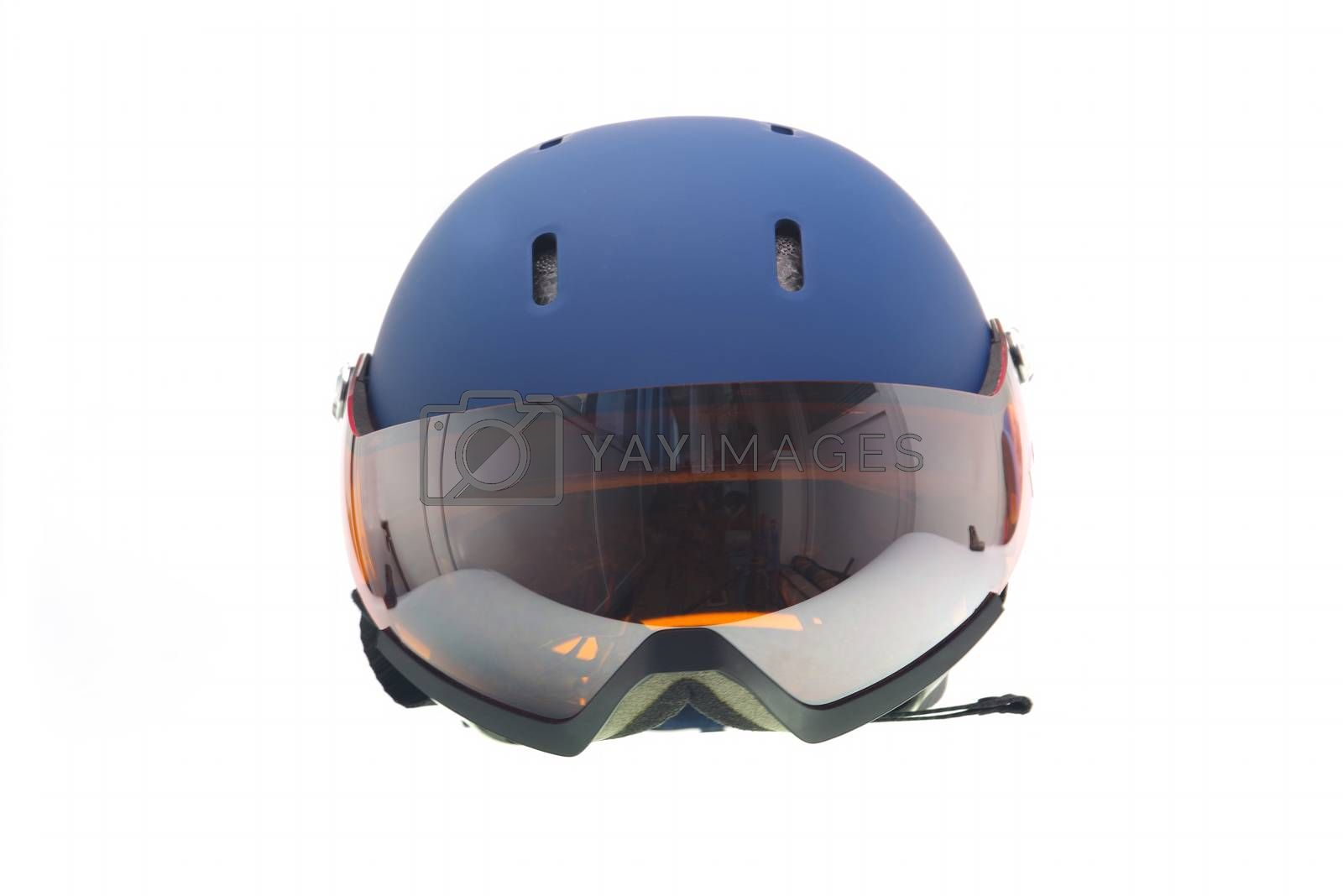Protective blue ski helmet with snow glasses.