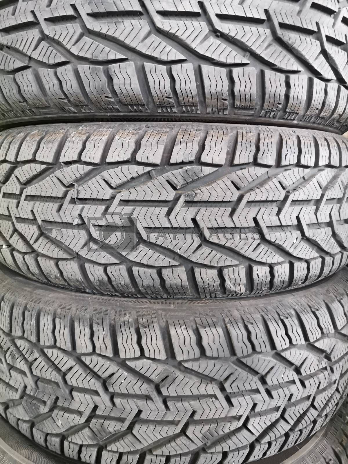 Stack of winter tyre, close up image