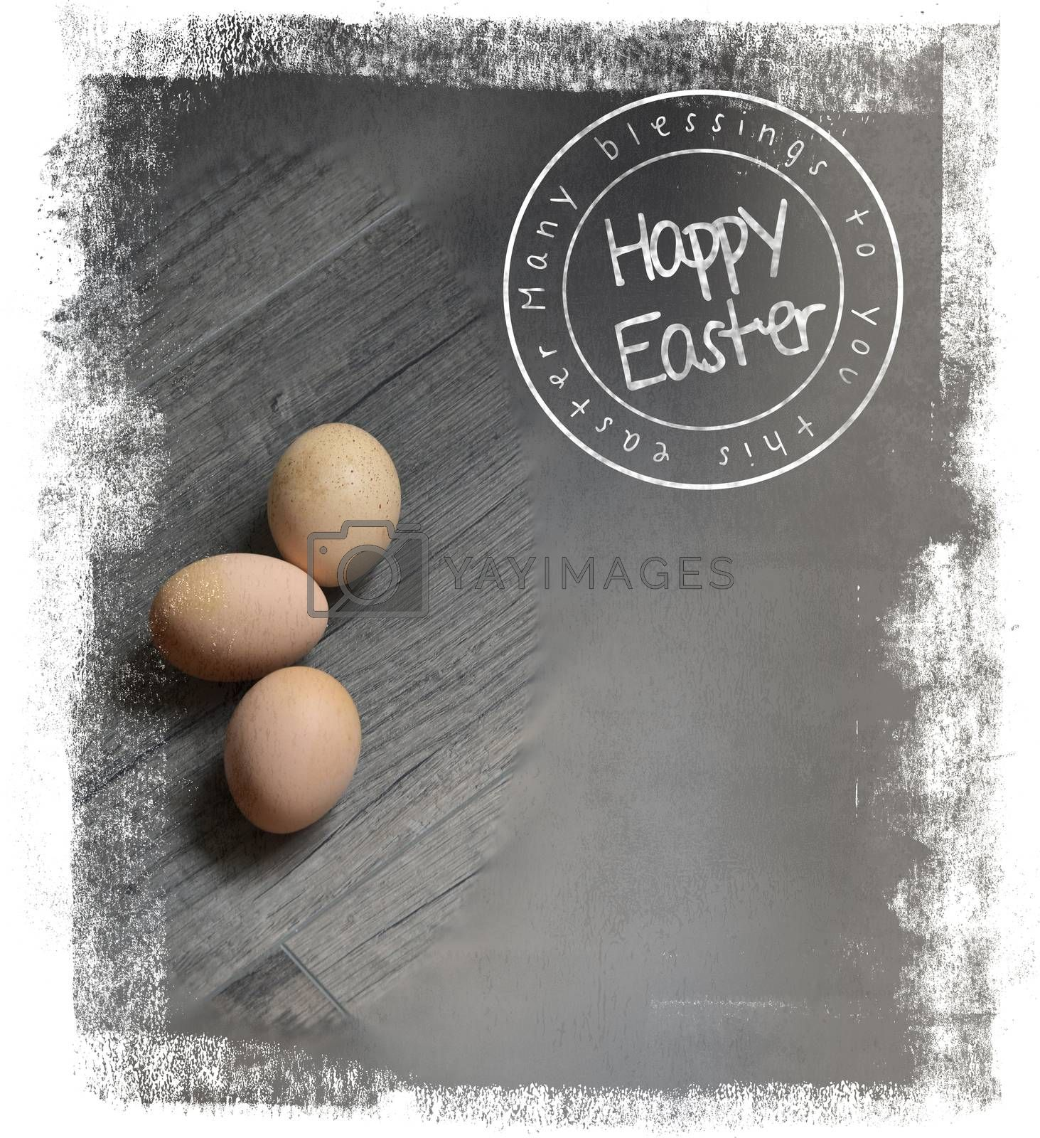 a modest postcard for Easter with eggs lying on a neutral background