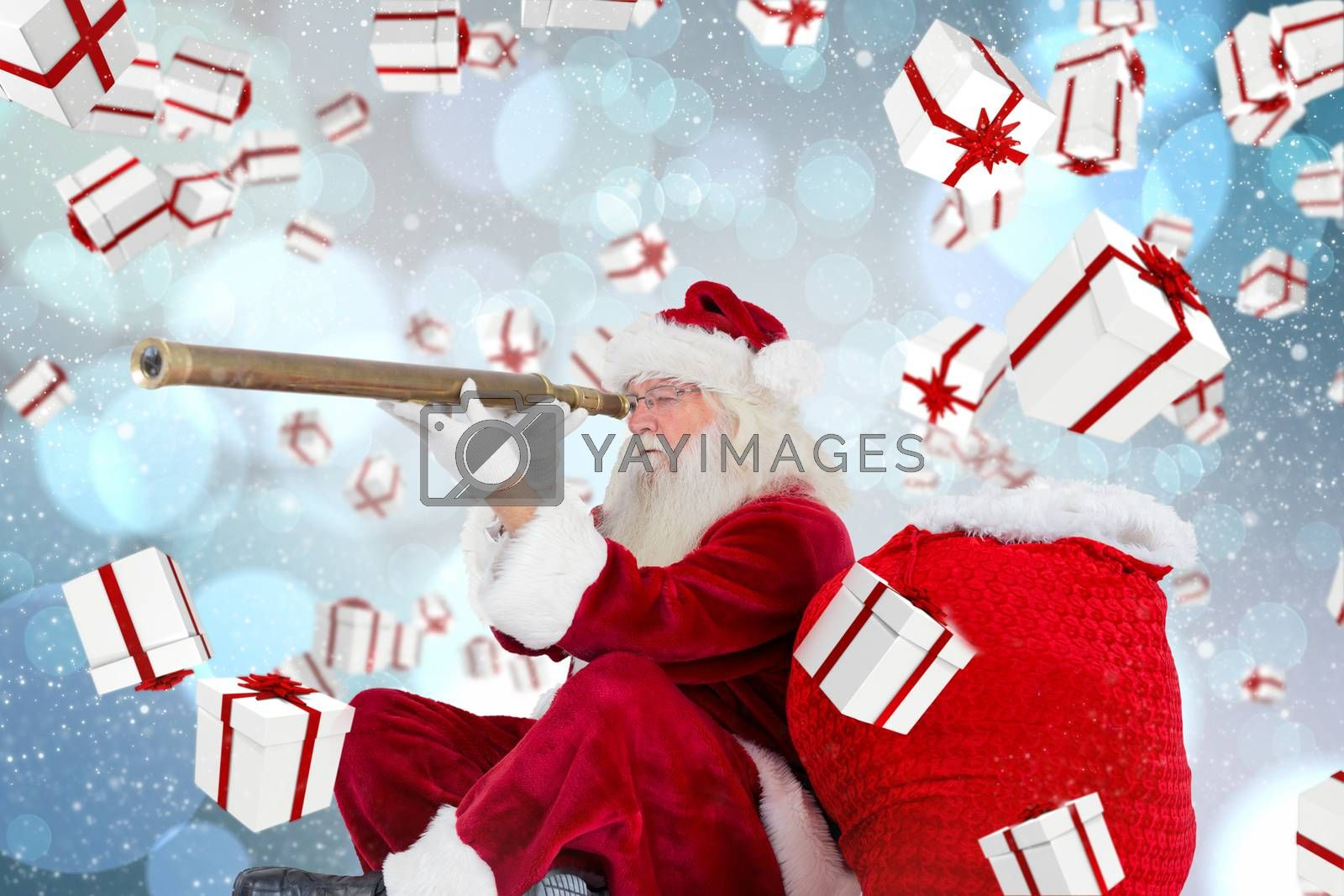 Santa claus looking through telescope against light glowing dots design pattern