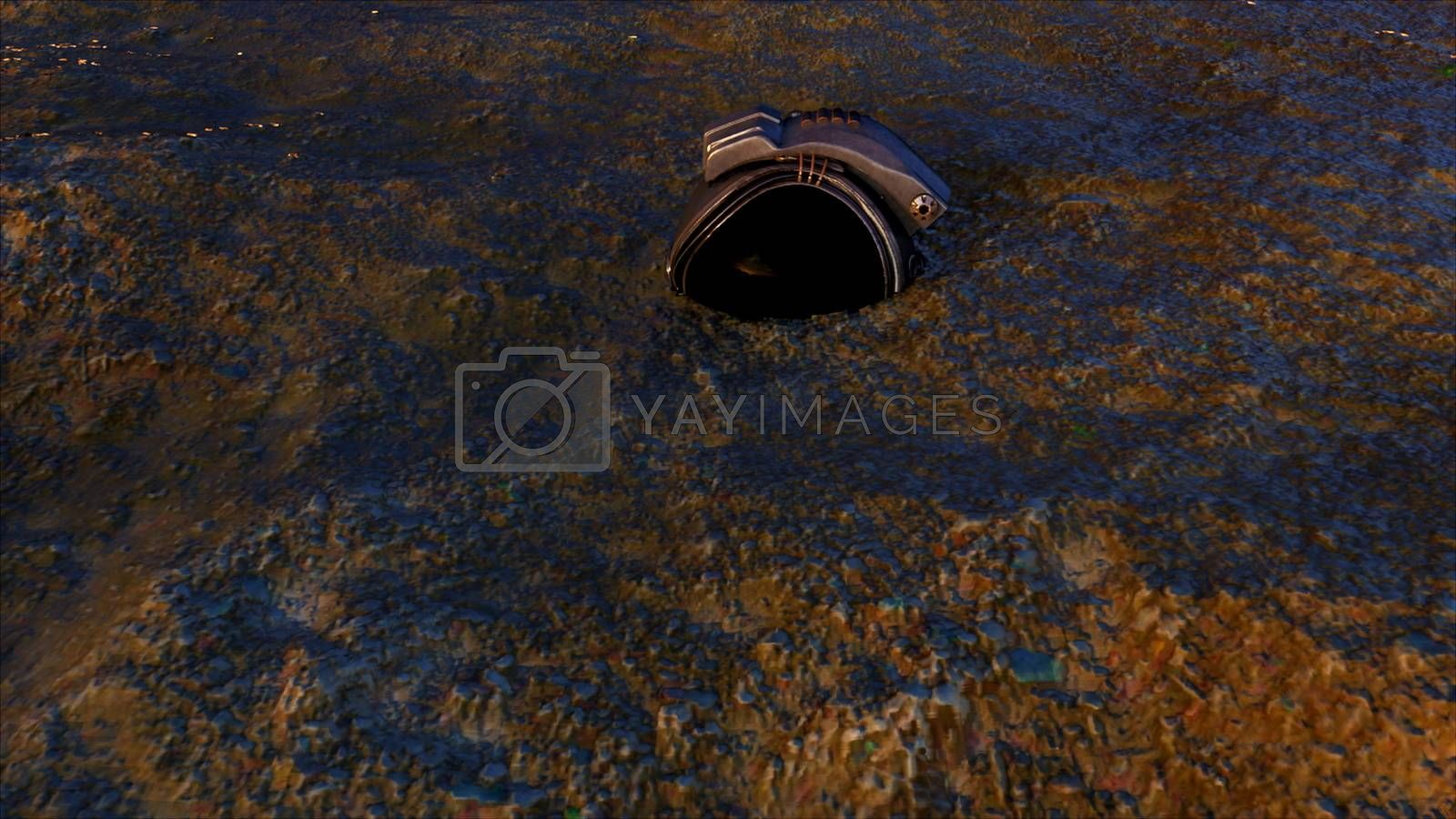 Metallic helmet of an astronaut on the sand. Lighted item. Computer generated space backdrop, 3D rendering