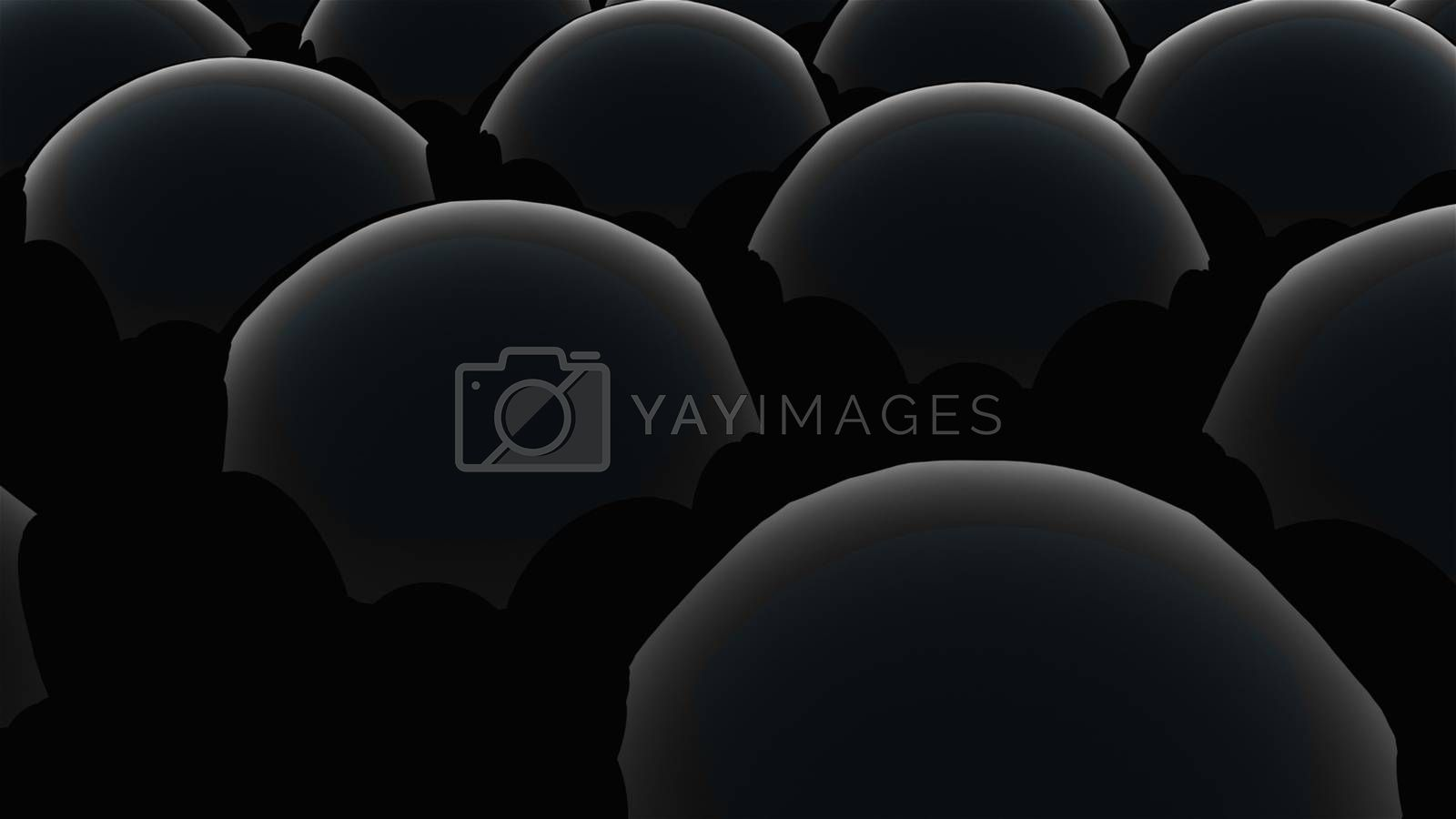 Wavy surface of many black spheres. 3d rendering modern background, computer generated