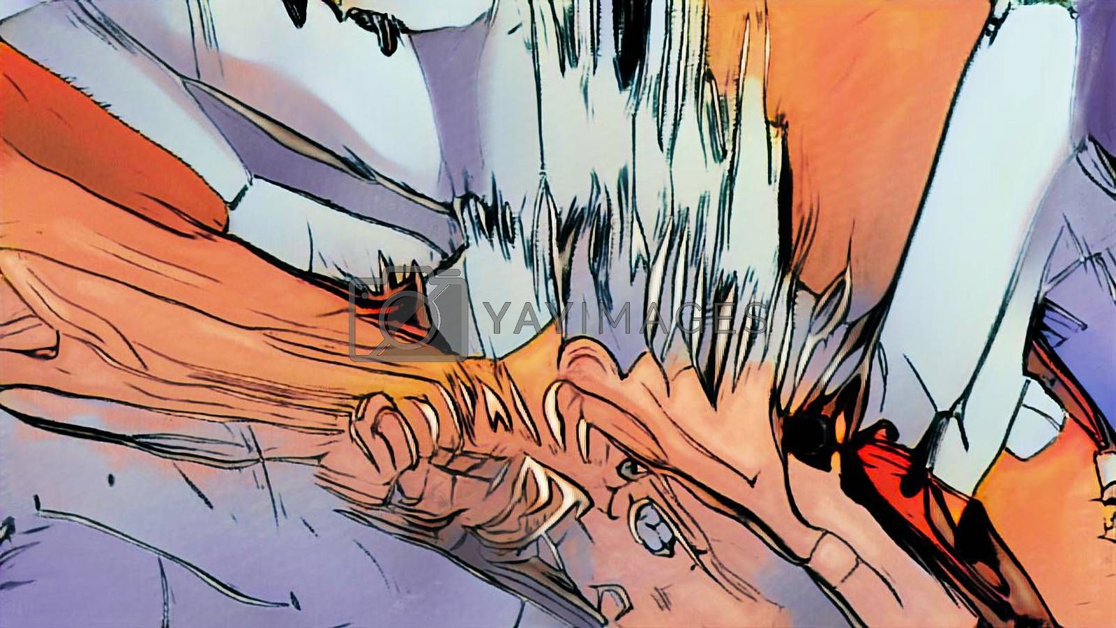 Computer generated abstract comic style backdrop. 3d rendering of the drawn fragment