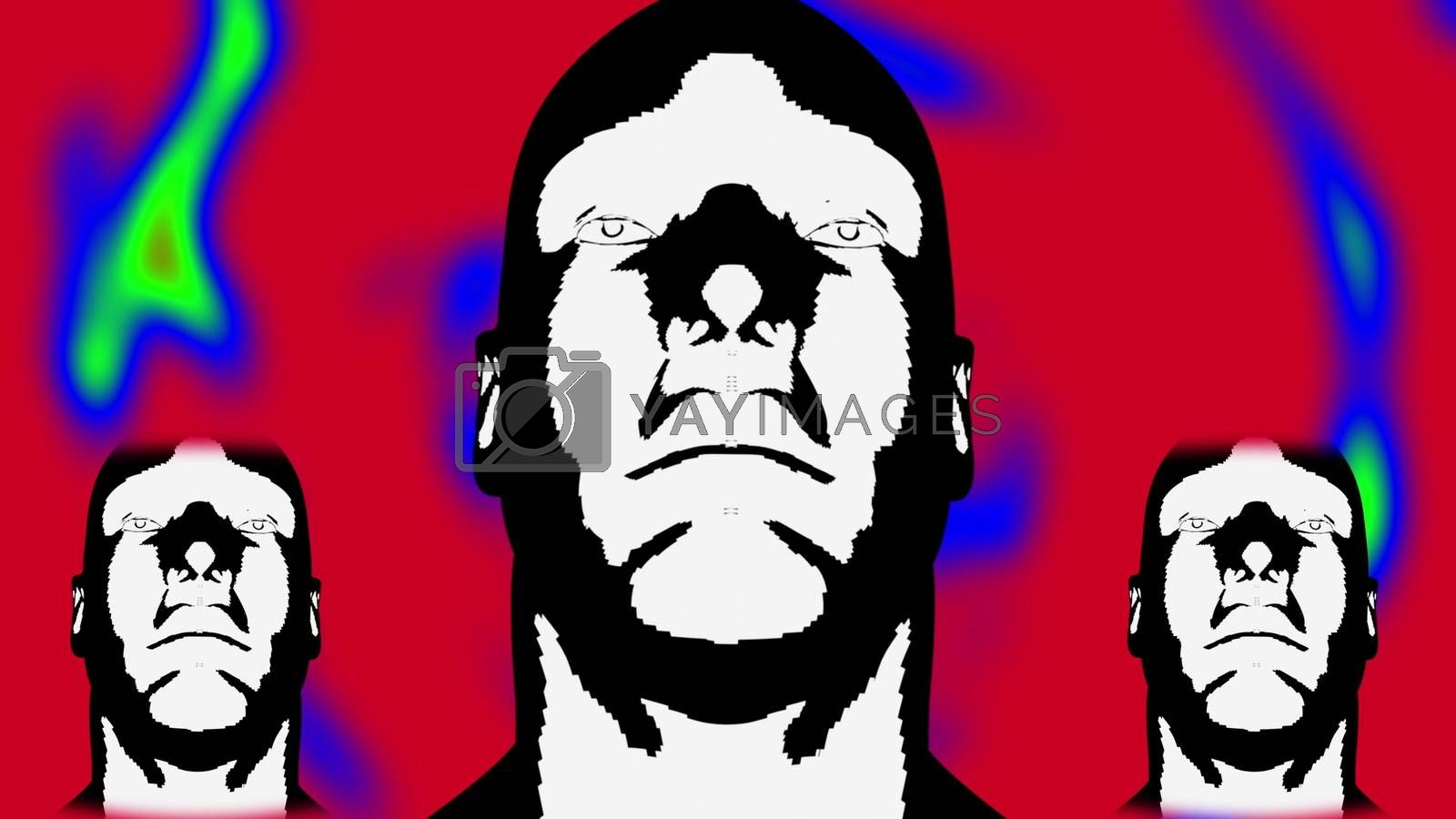 Dance of three cartoon white human head, 3d rendering. Computer generated futuristic background.