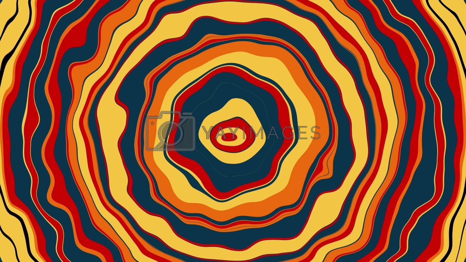 Computer generated a backdrop from colorful twisted stripes in circle shape. 3D rendering of abstract wallpaper