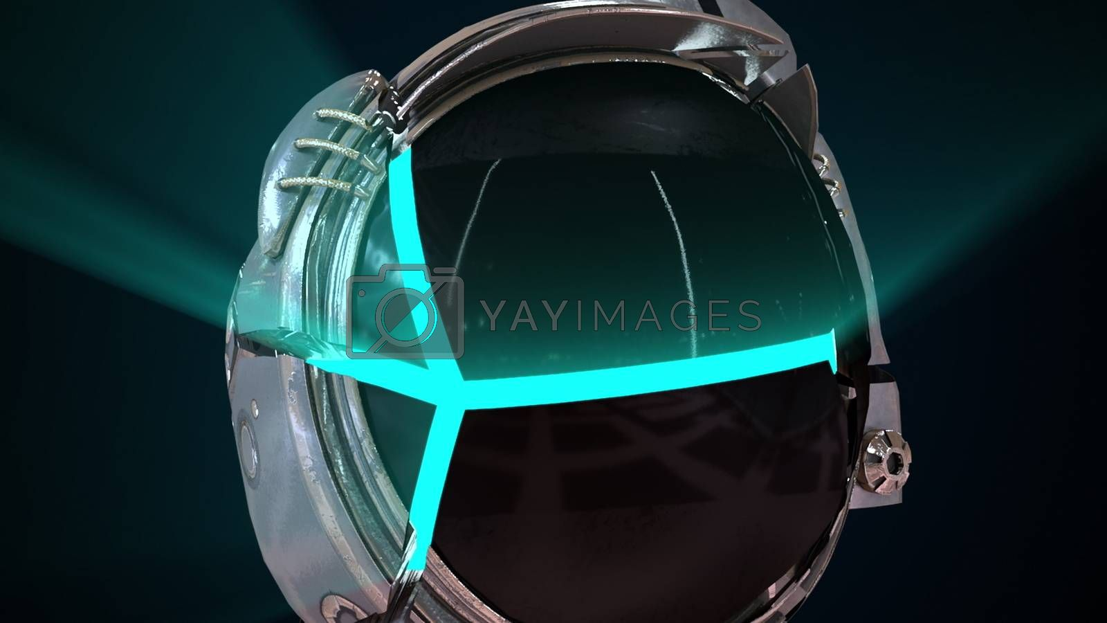 Cosmonaut head in a metal helmet close-up with neon light from the inside. Computer generated space background, 3d rendering