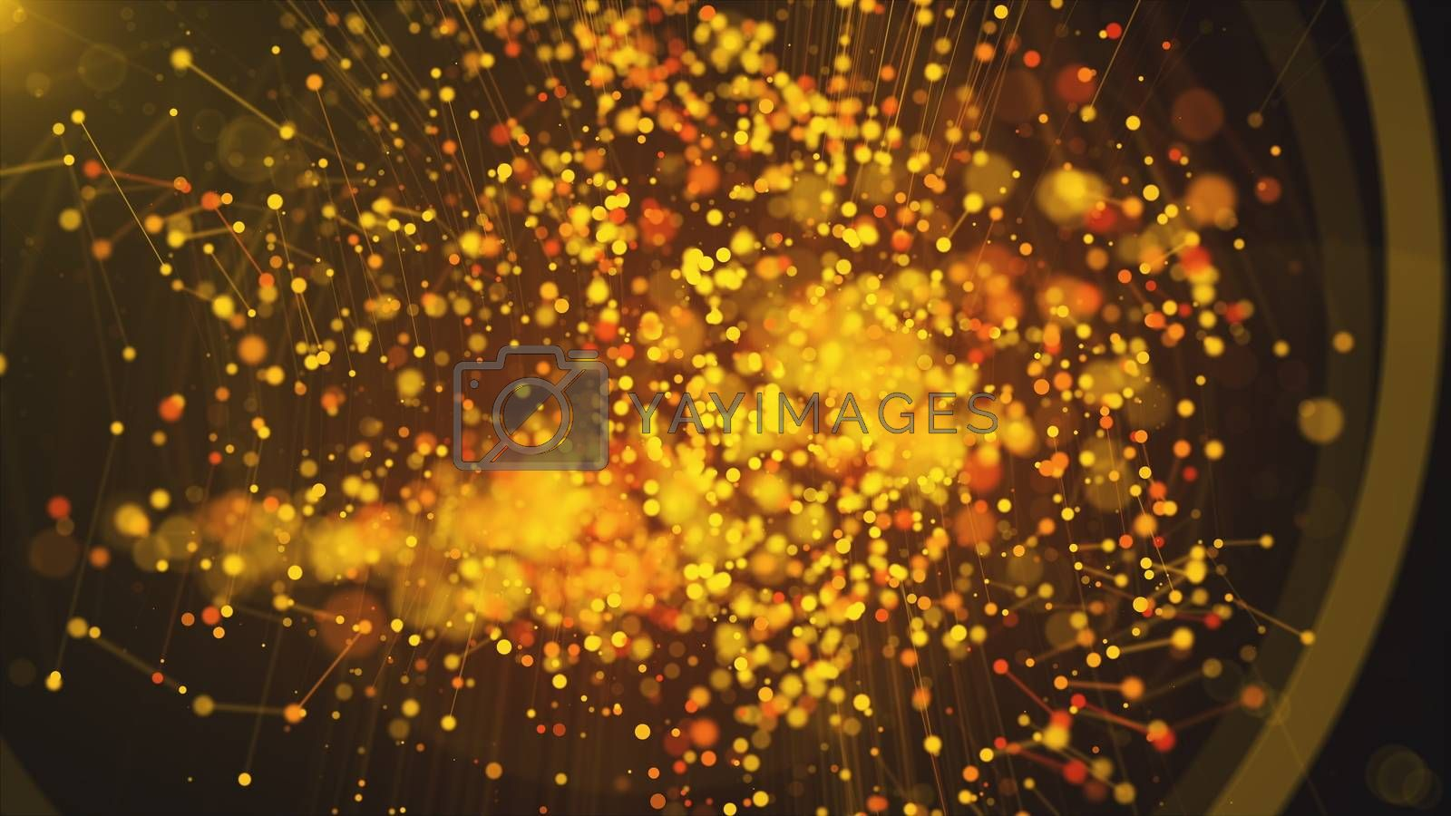 Computer generated abstract beautiful background. Gold particles, dots and lines, 3d rendering.