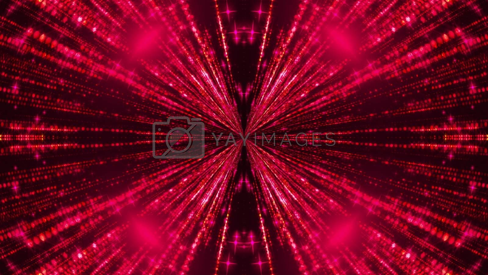 Beautiful abstract symmetry kaleidoscope with shiny neon lines, 3d rendering backdrop, computer generating background