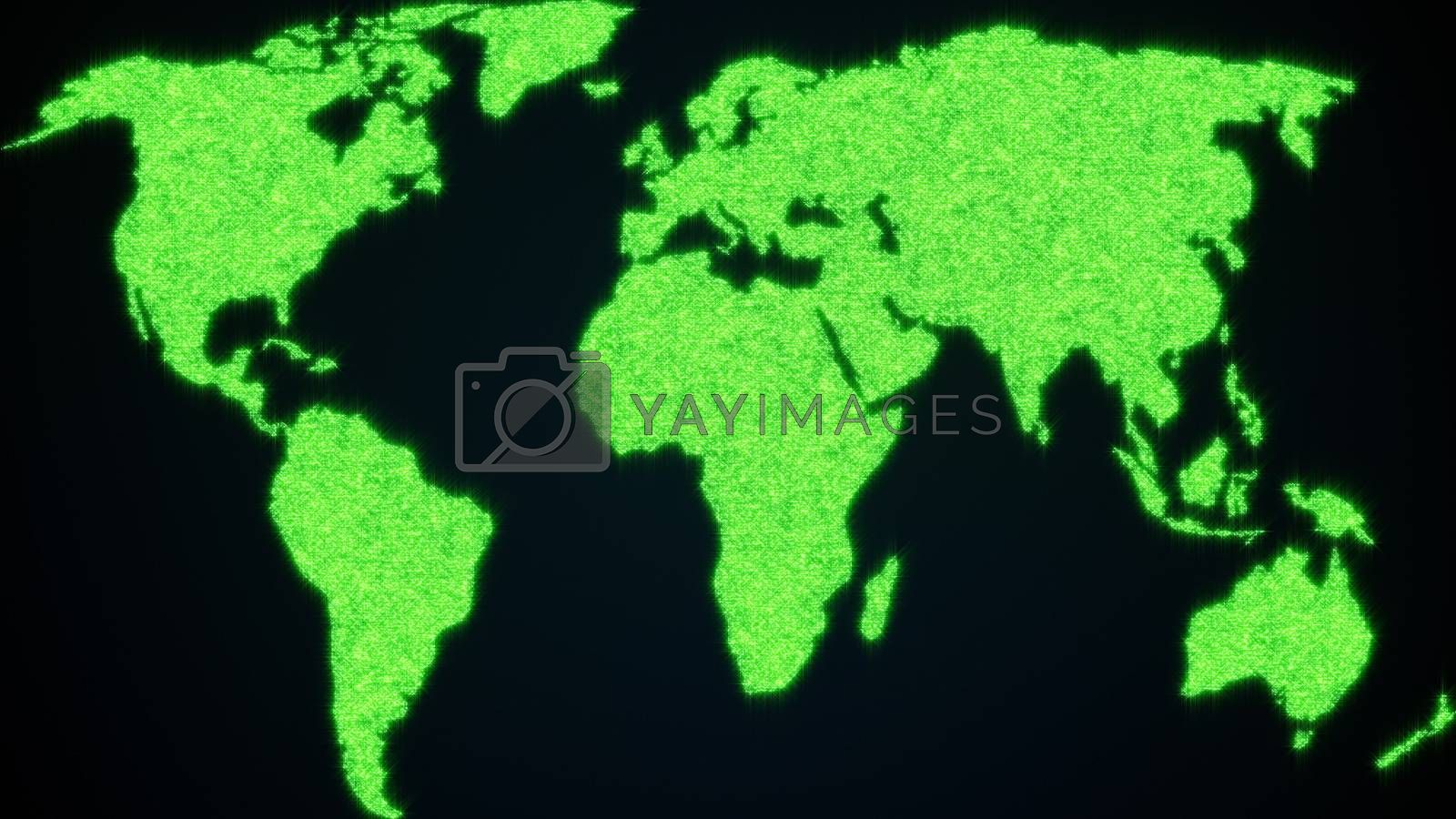 World map from shining blinking particles. 3d rendering of digital planet Earth. Computer generated abstract background