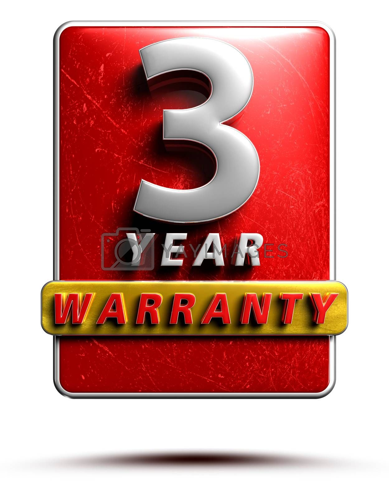 Warranty label 3D illustration 3 years Red Color Numbers in stainless steel Isolated on a white background. (With Clipping Path).