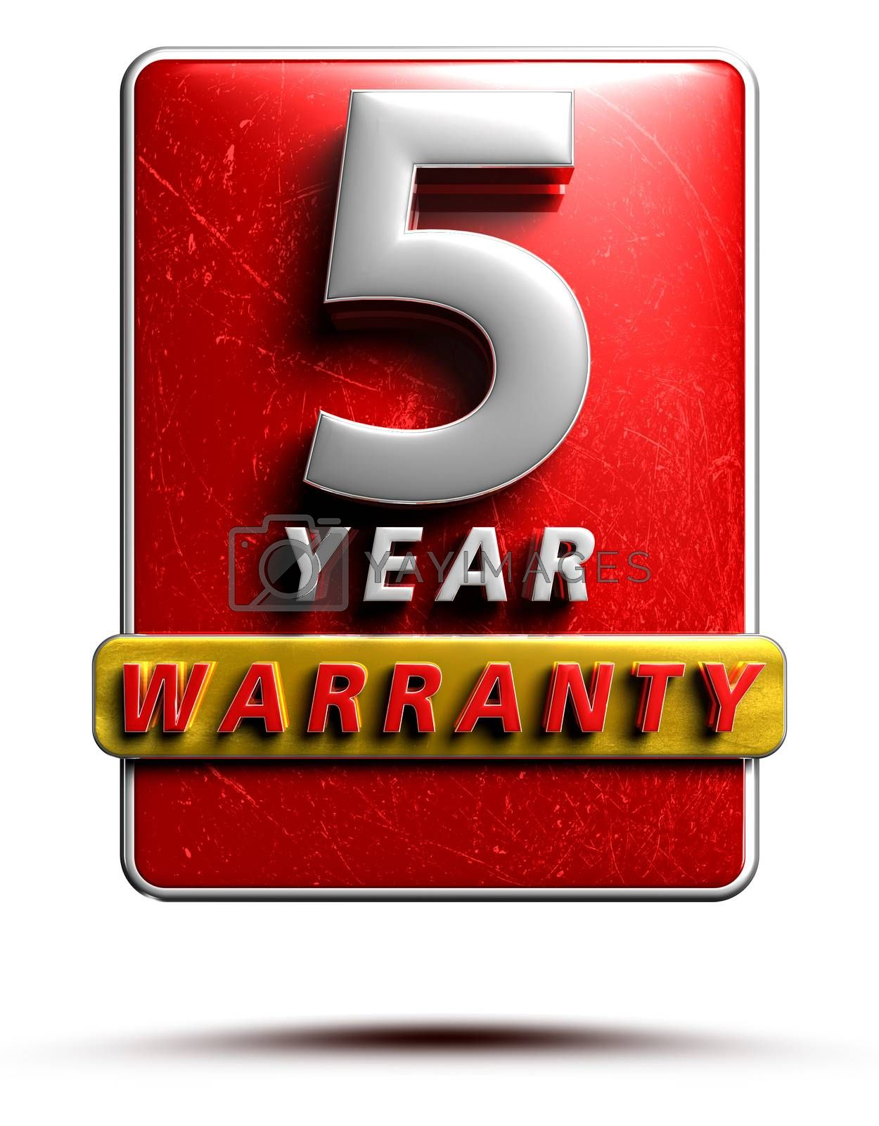 Warranty label 3D illustration 5 years Red Color Numbers in stainless steel Isolated on a white background. (With Clipping Path).