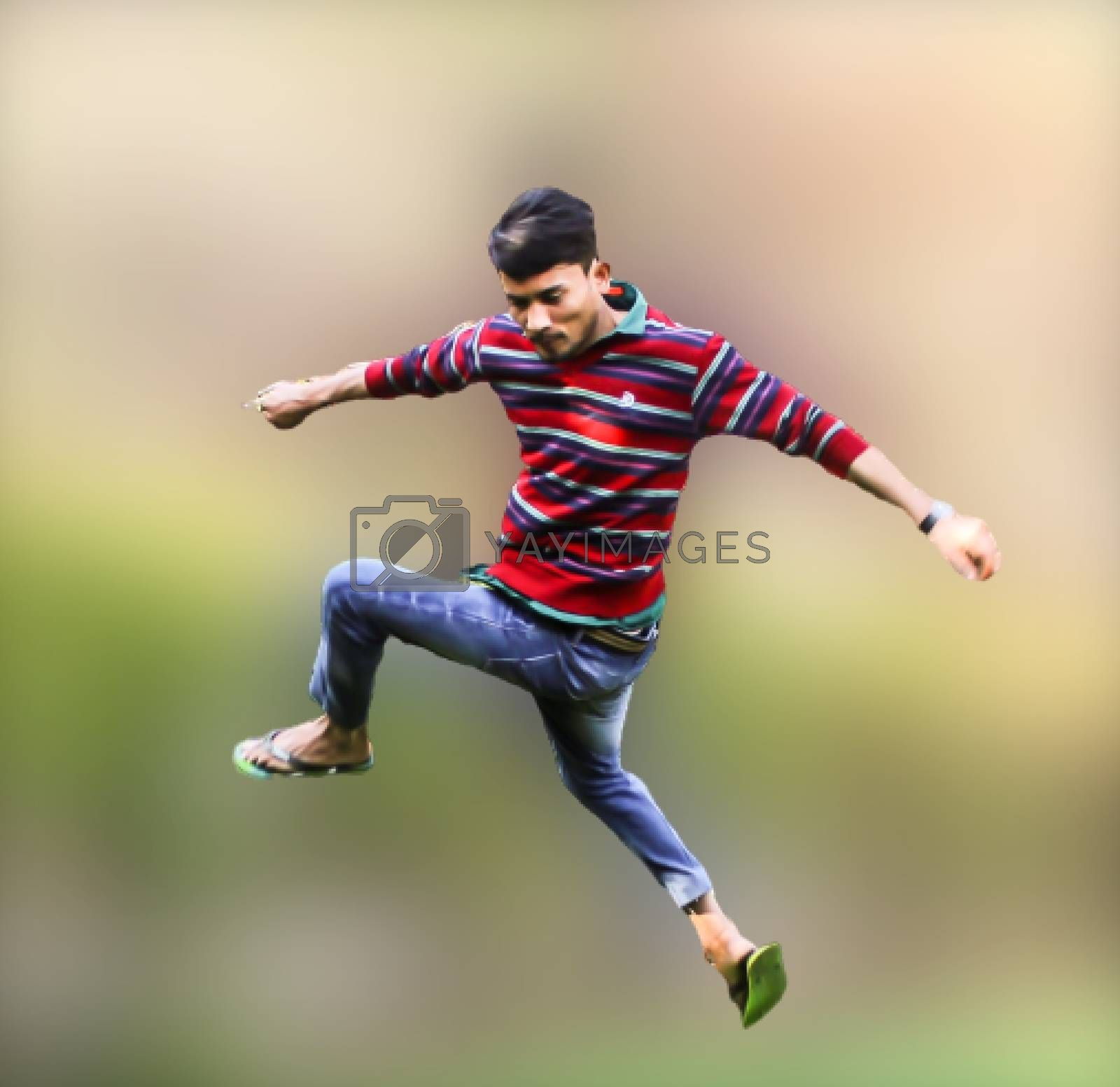 A picture of model in jumping move