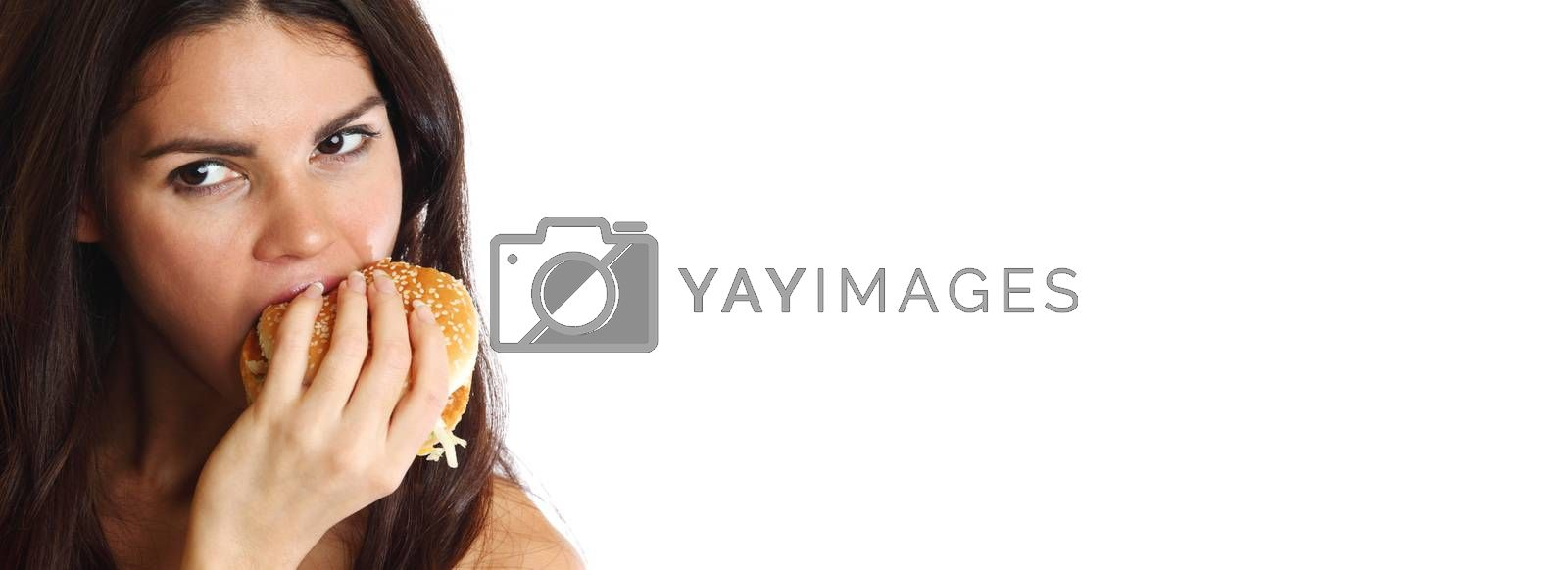 woman eat burger isolated on white background copy space