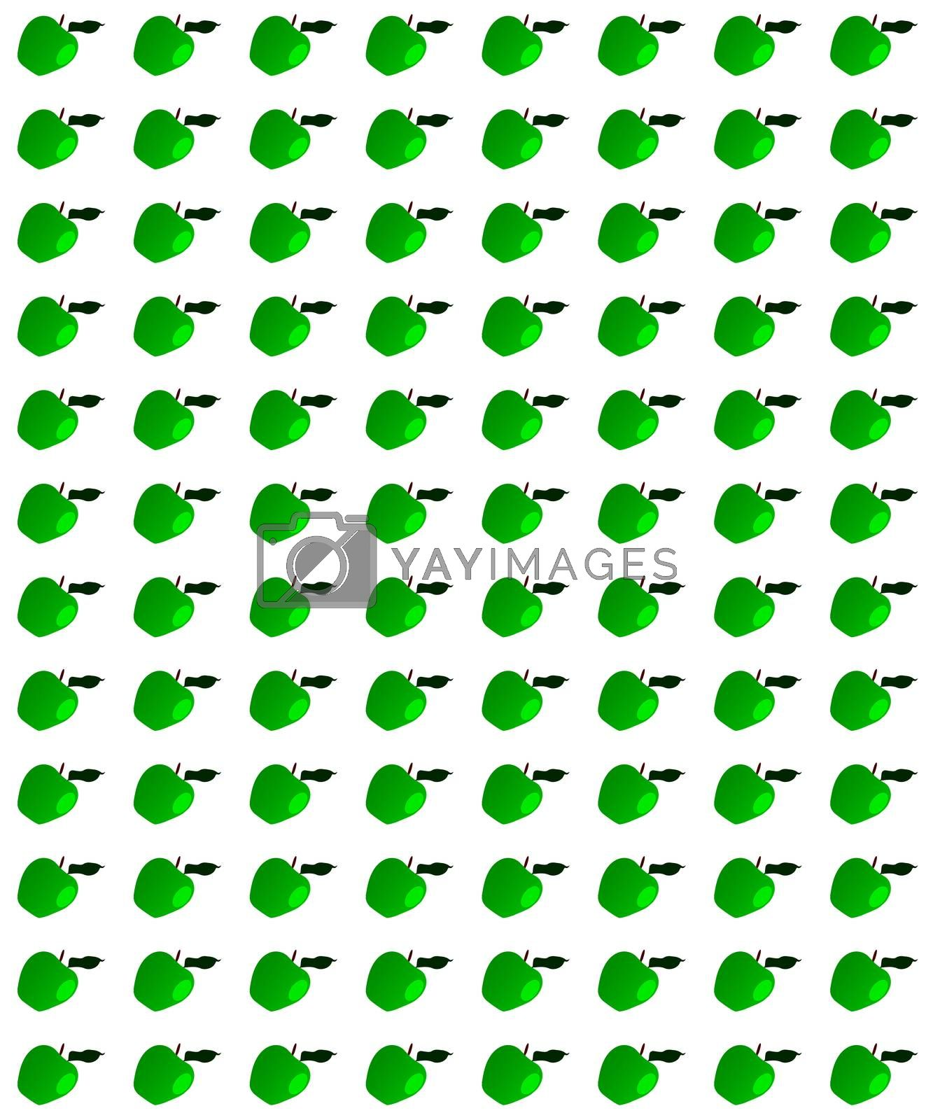 A page of green apples with stalks and leaves isolated on a white background