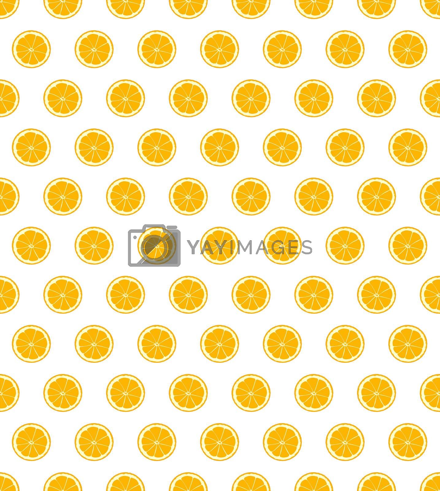 A page of orange slices isolated on a white background and seamless and conectable