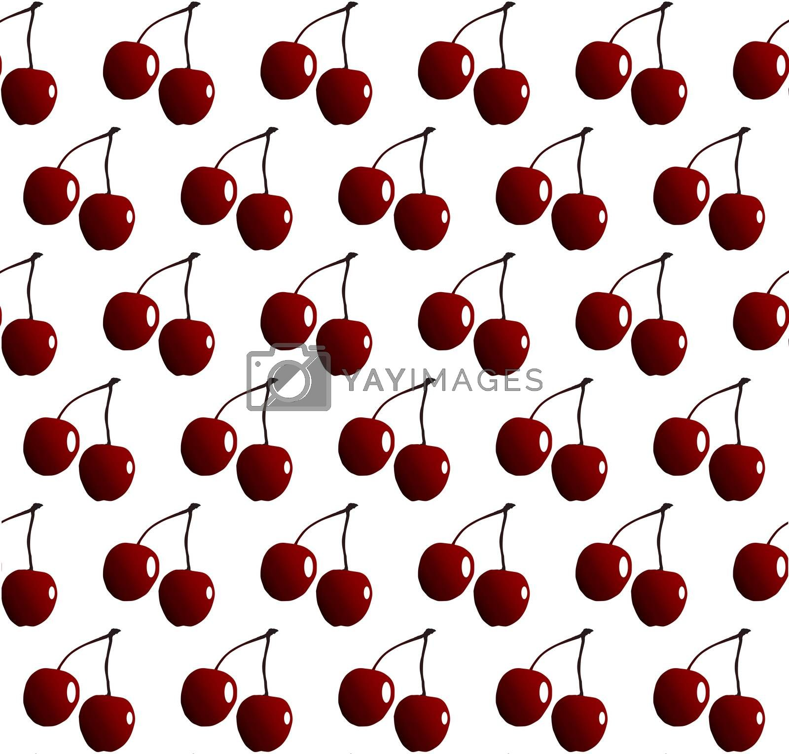 Two cheries with stalks in rows as a seamless pattern isolated on a white background
