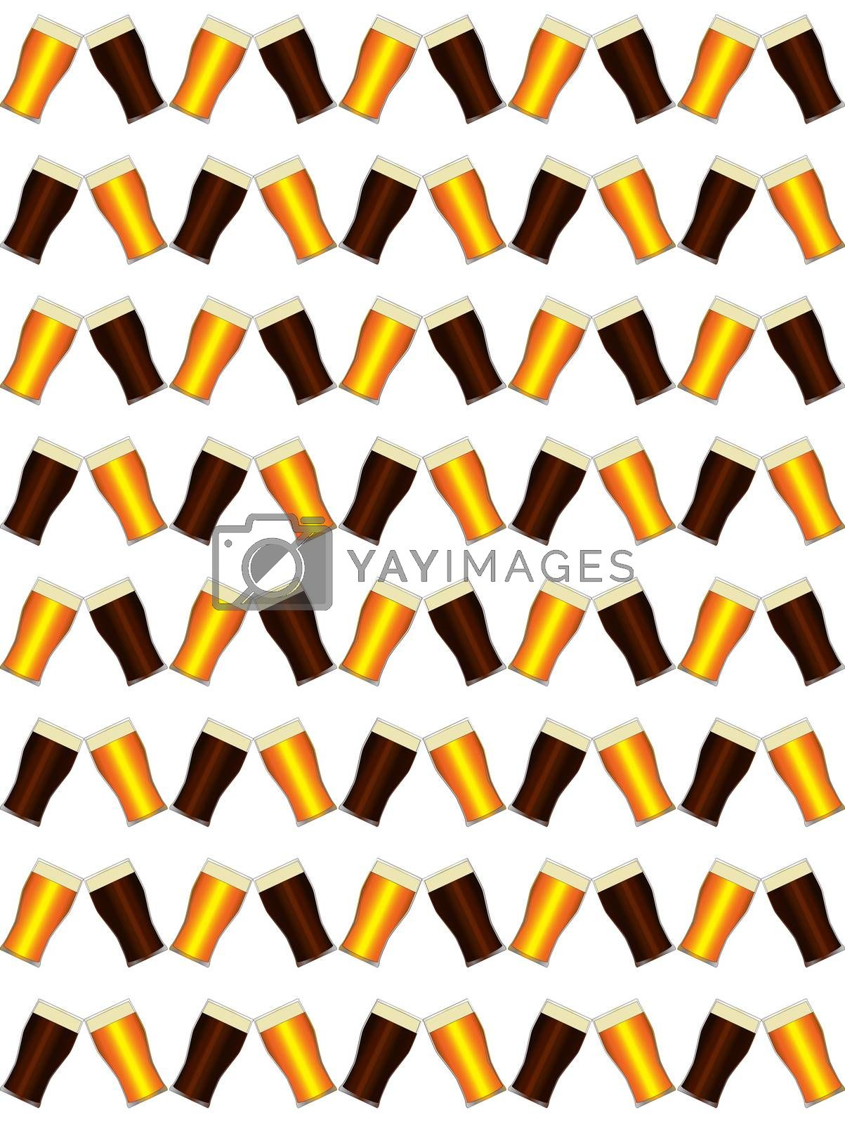 Traditional tall beer glasses set as a seamfree background