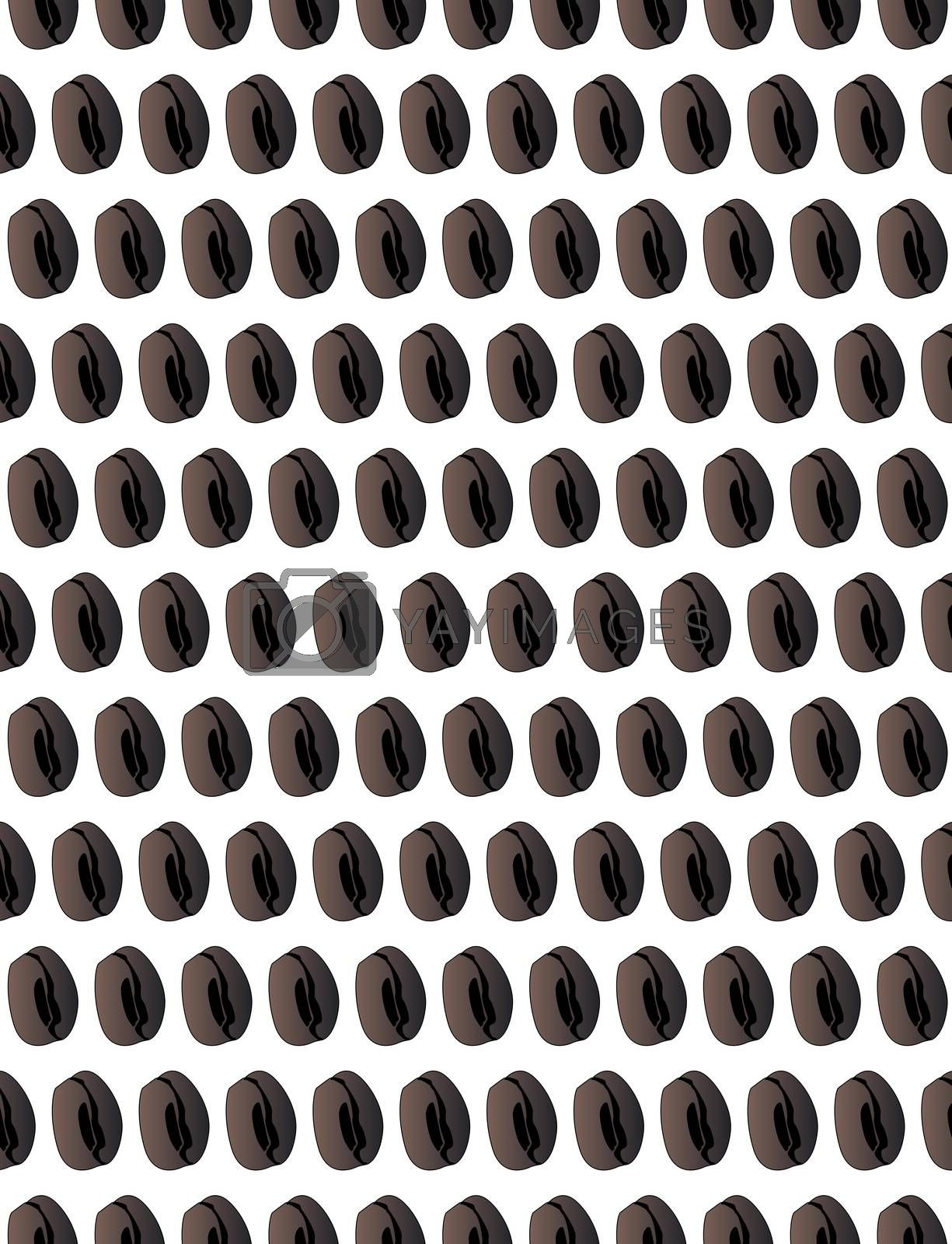 A coffee bean seamless background on white