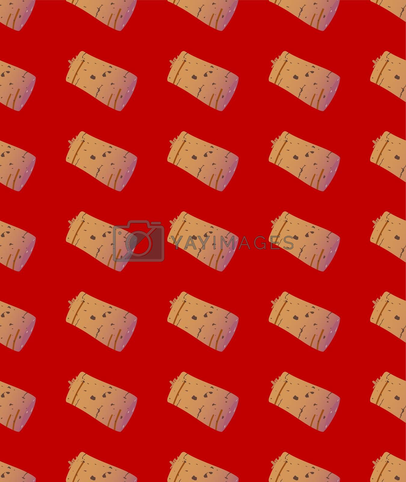 A typical red wine bottle cork as a seamless background pattern