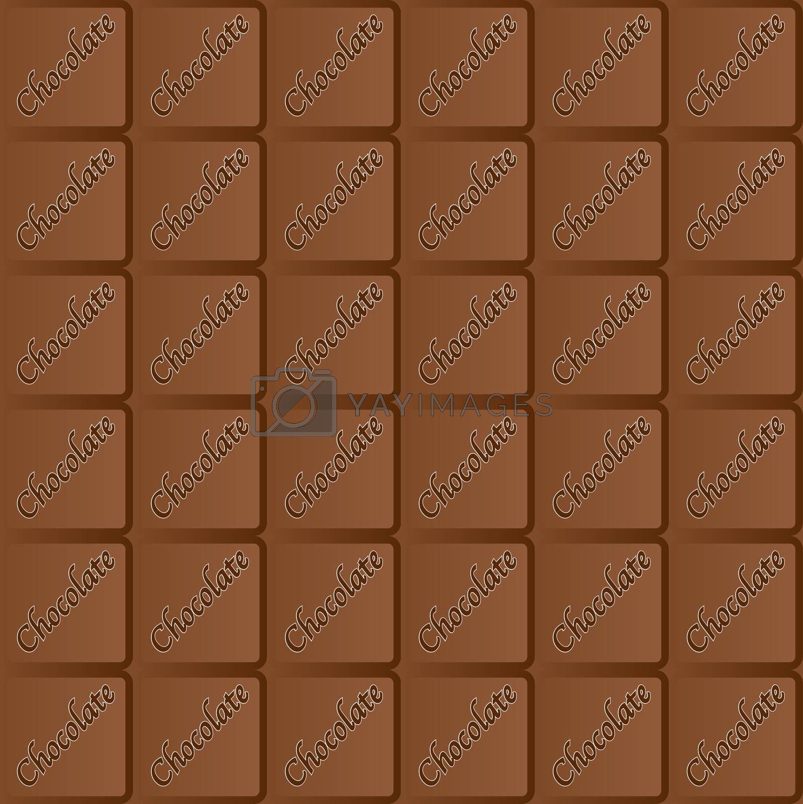 A typical bar of milk Chocolate as a background and repeating seamless pattern
