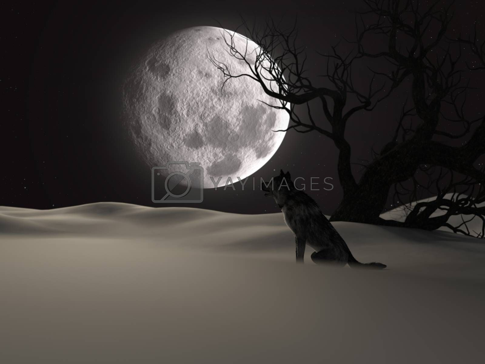 Illustration of a wolf during the full moon in winter with a creepy tree - 3d rendering