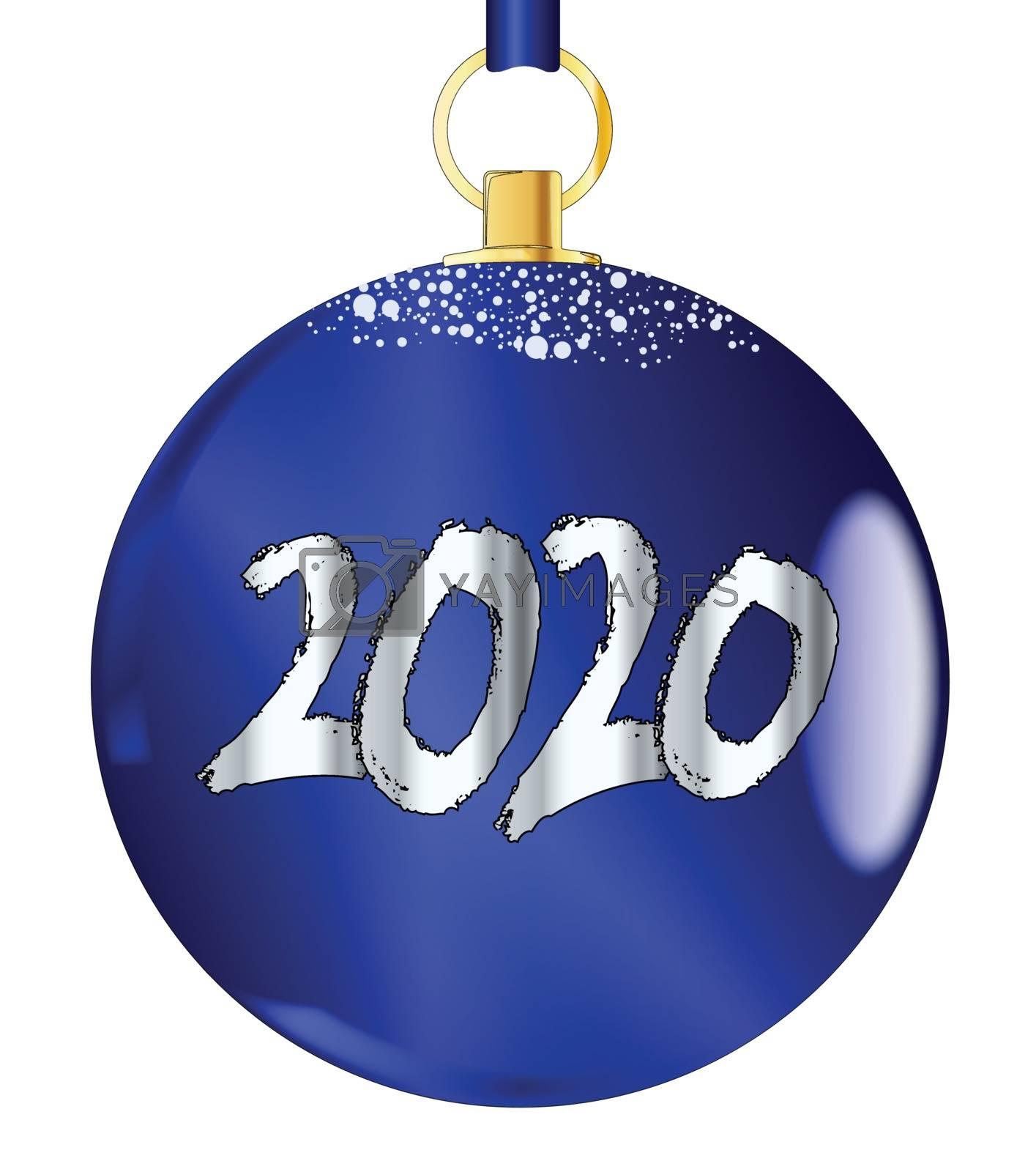 A blue 2020 christmas decorative ball.