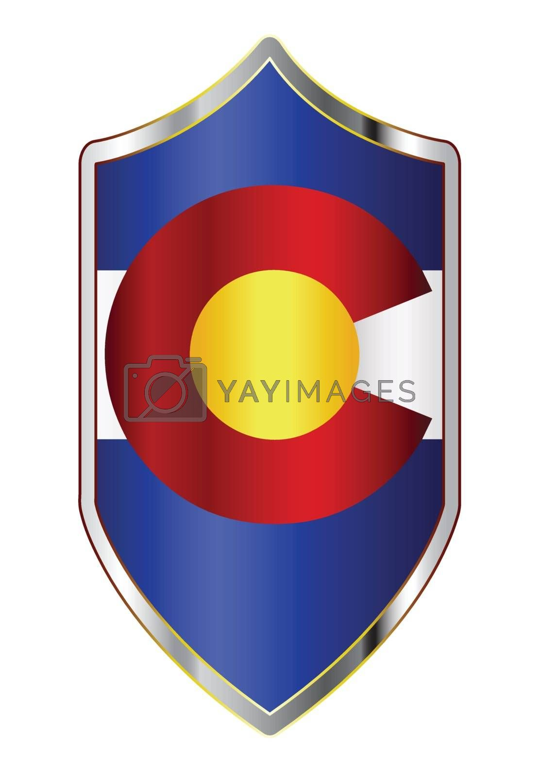A typical crusader type shield with the state flag of Colorado all isolated on a white background