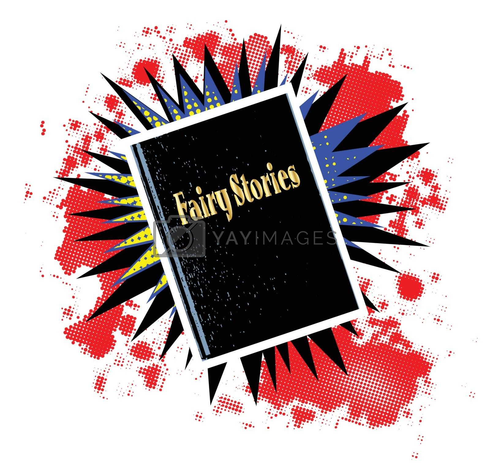 A comic cartoon style boom explosion set with a fairy stories book over a white background