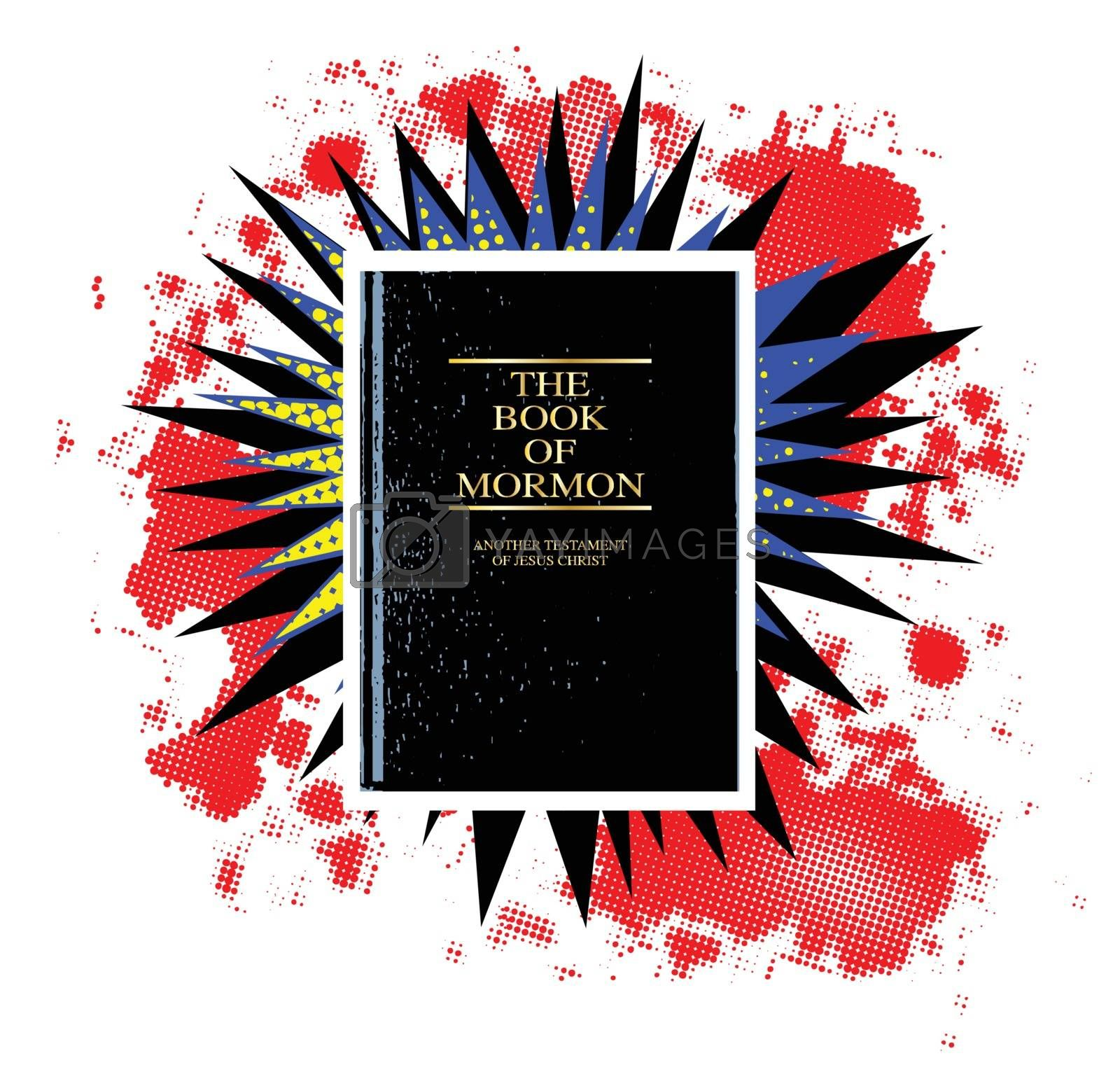 A comic cartoon style boom explosion set eith a Book of Mormon over a white background