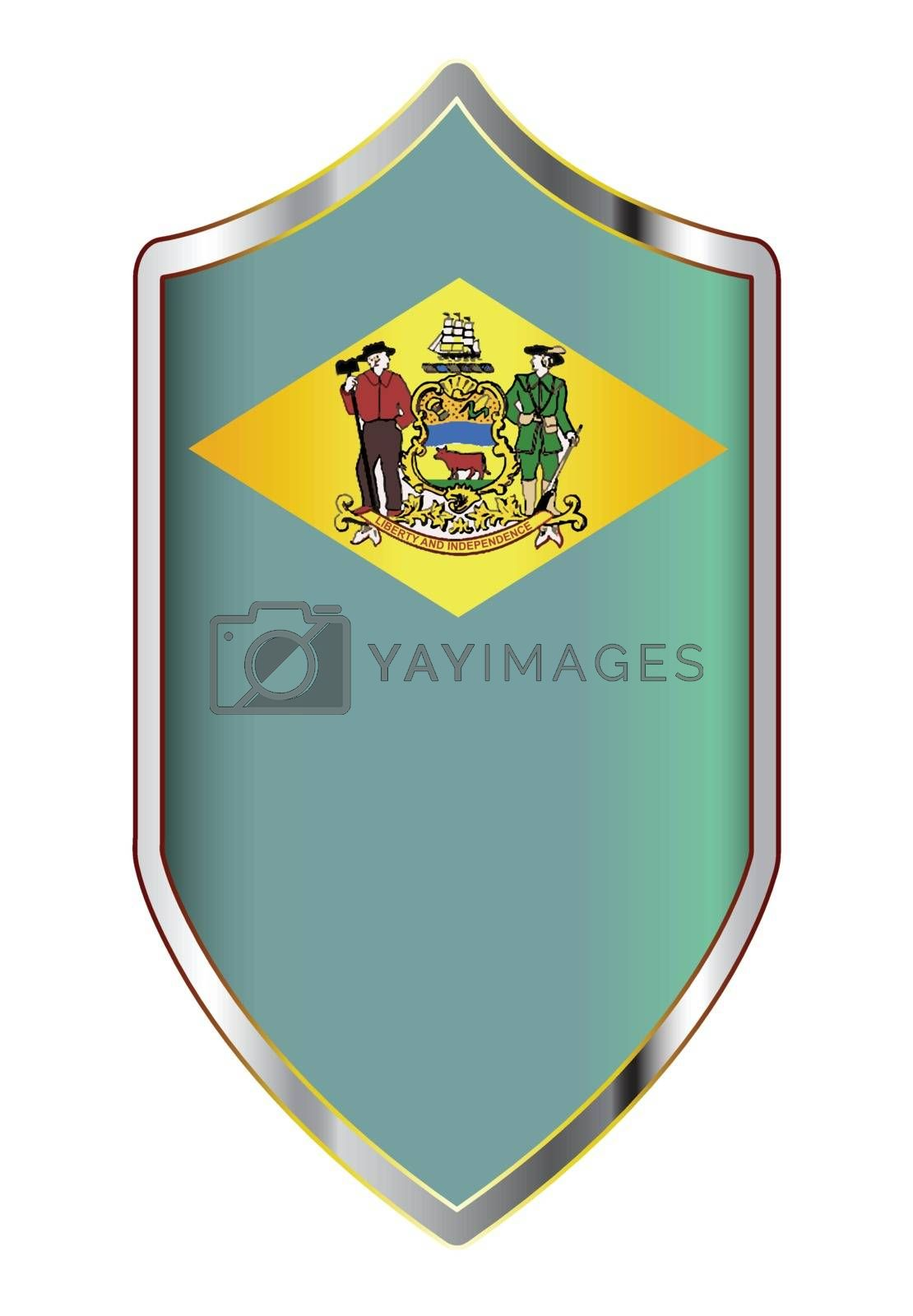 A typical crusader type shield with the state flag of Delaware all isolated on a white background