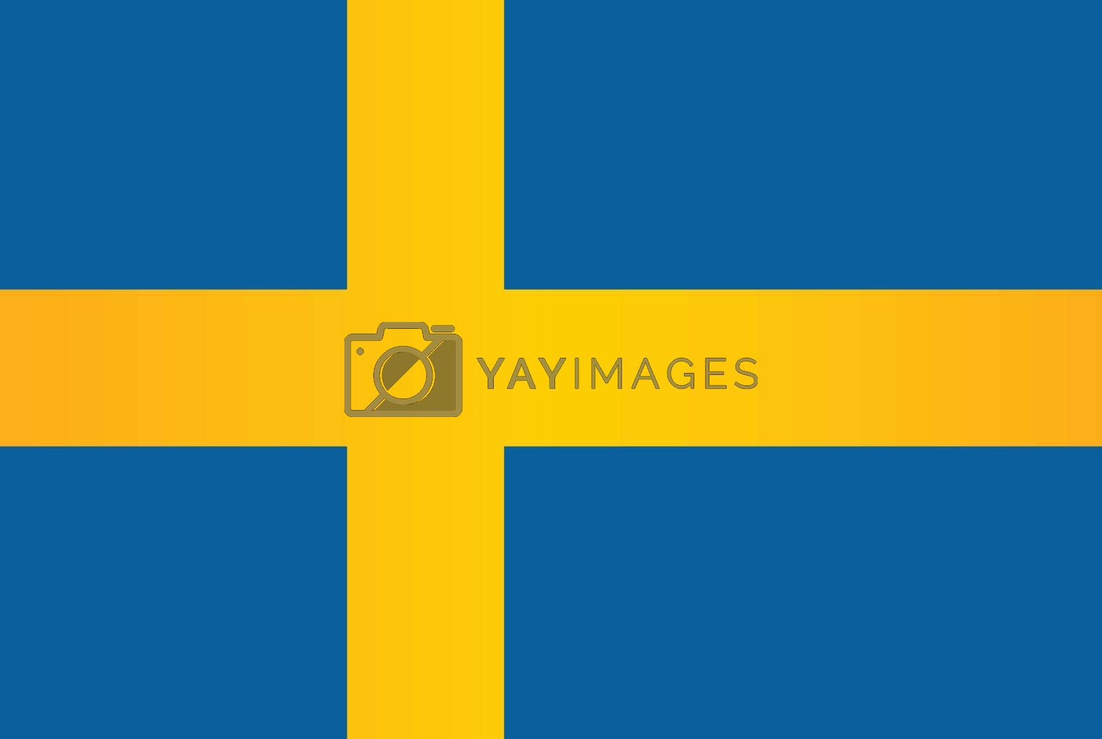 The flag of the Scandinavian country of Sweden in blue and yellow