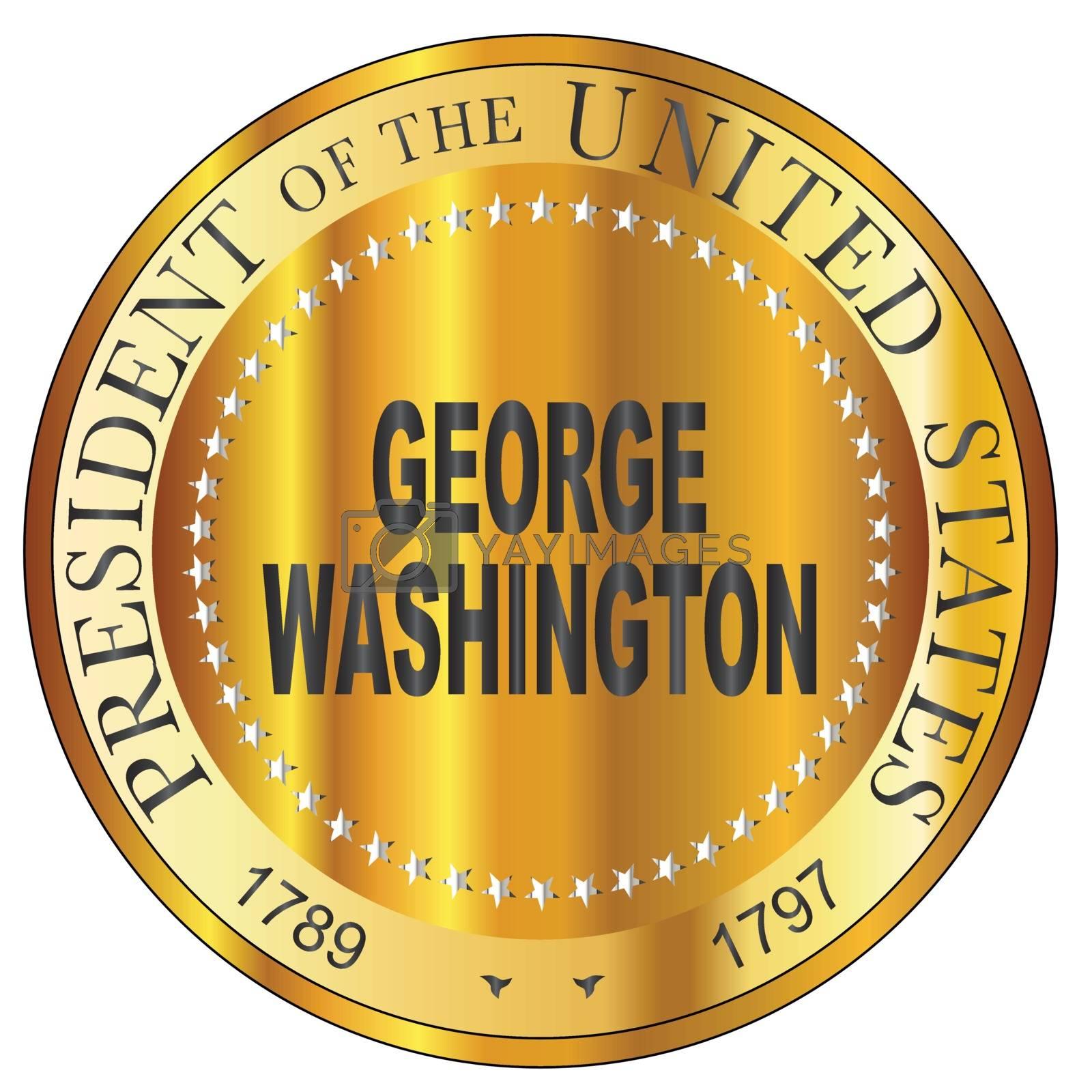 George Washington president of the United States of America round stamp